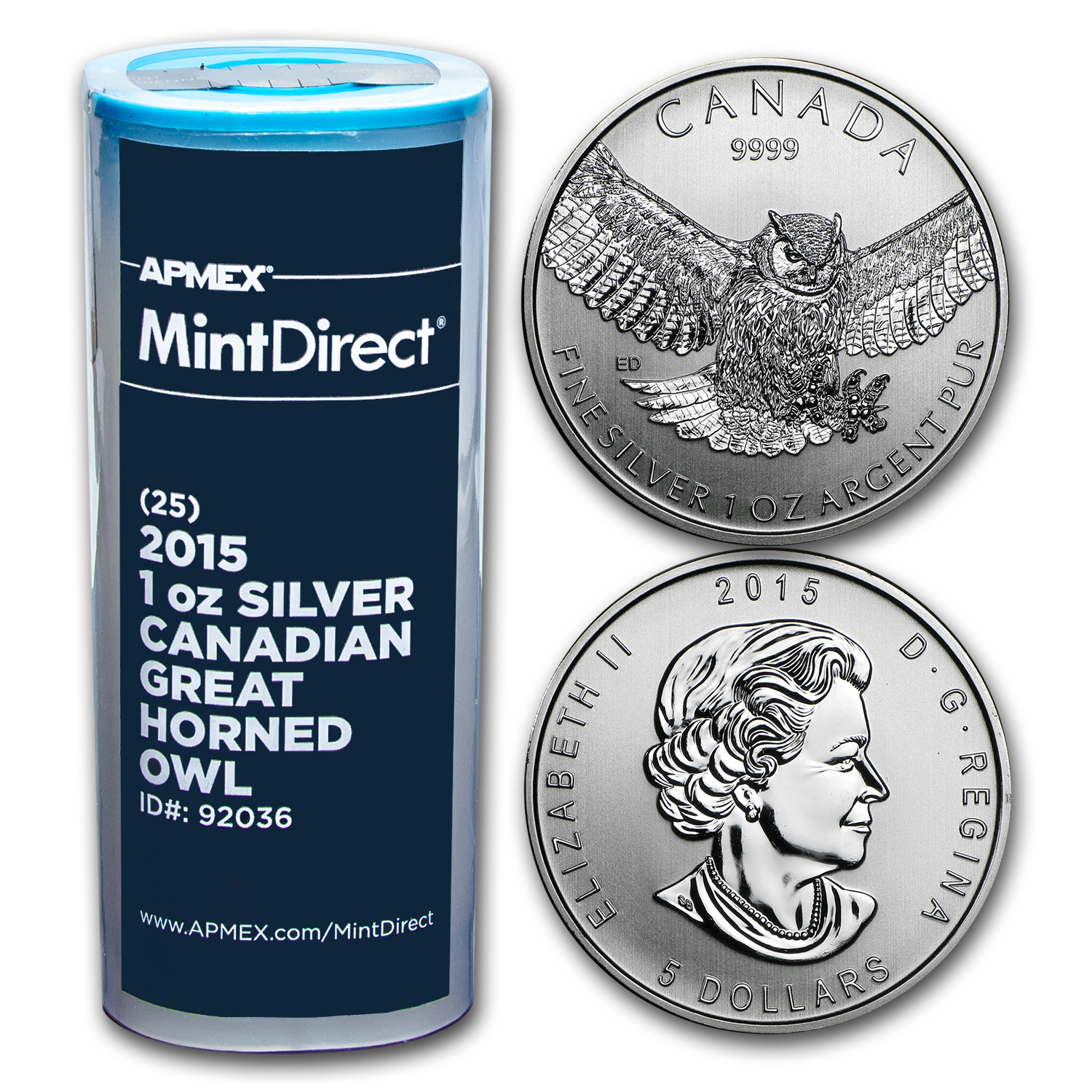 2015 RCM 1 oz Silver Great Horned Owl (25-Coin MintDirect® Tube)