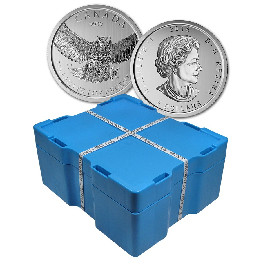 2015 Rcm 500 Coin 1 Oz Silver Great Horned Ow Monster Box