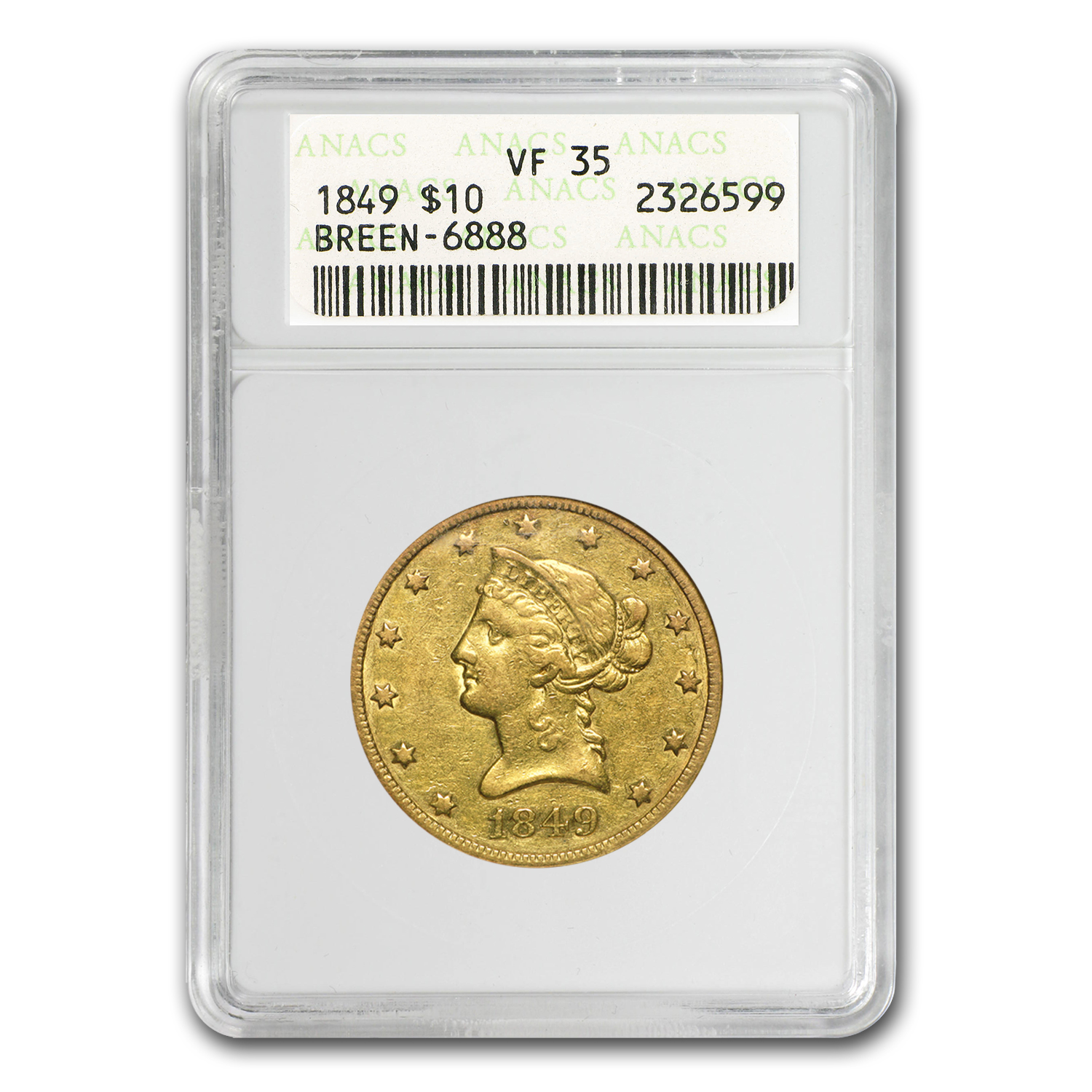 1849/1849 $10 Liberty Gold Eagle VF (VP-001)