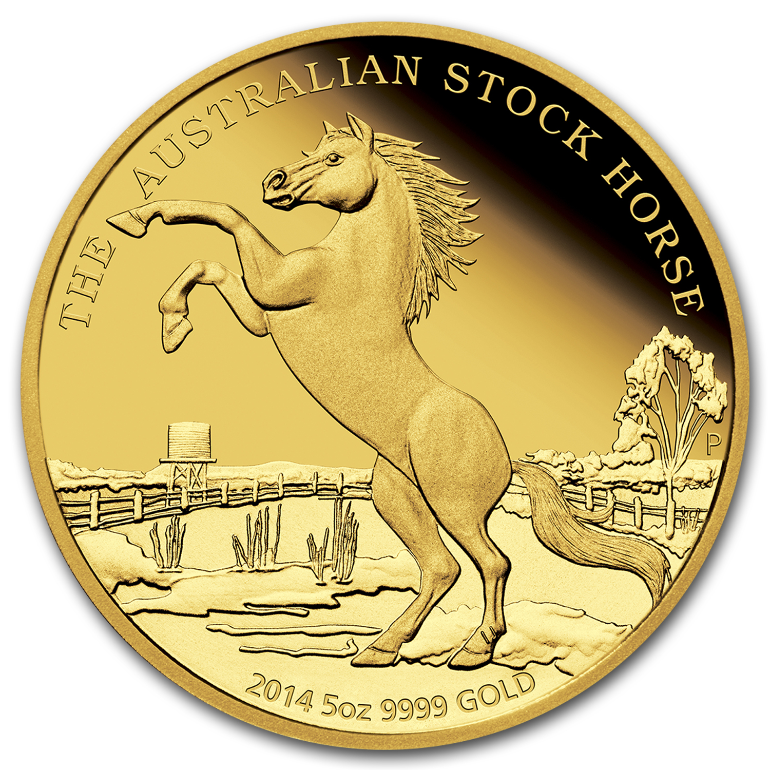 2014 Australia 5 oz Proof Gold Stock Horse