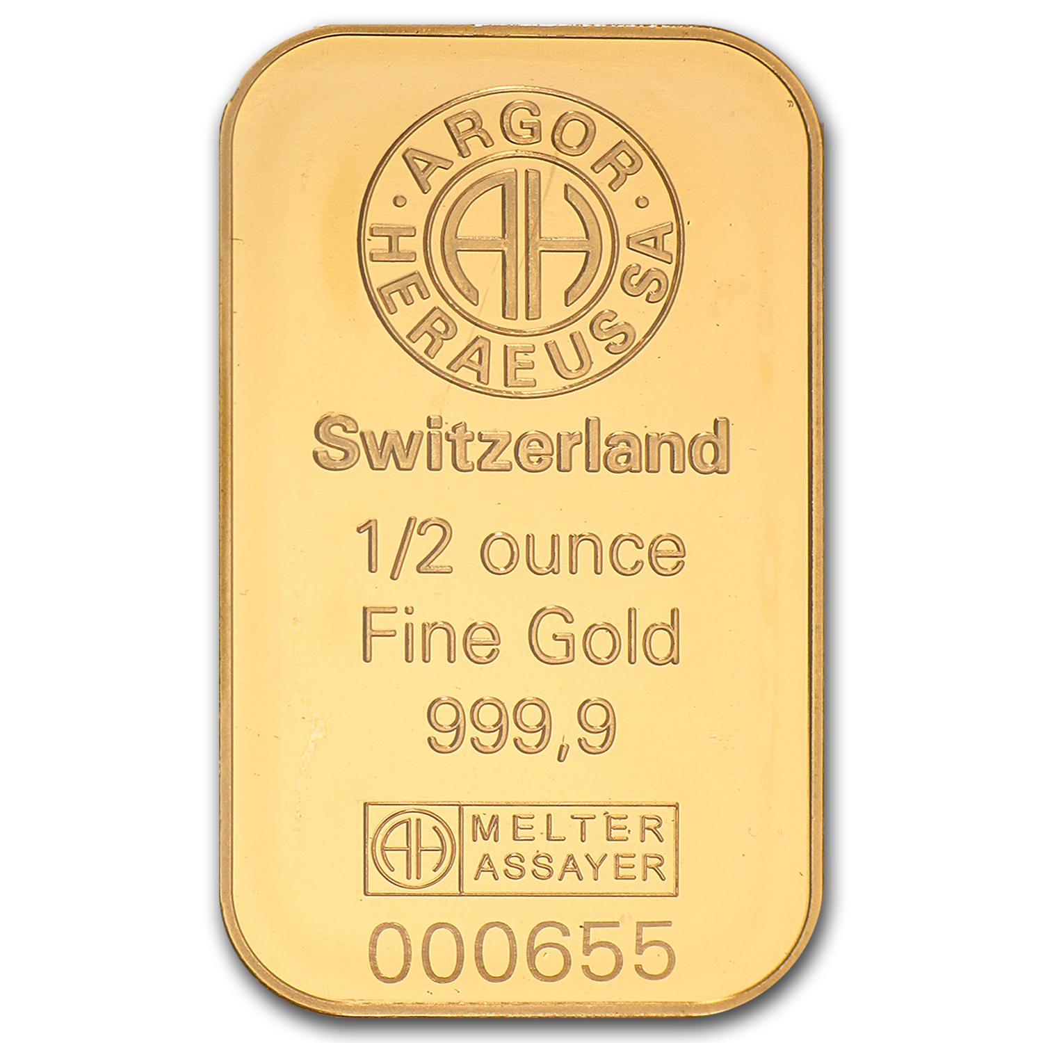 1/2 oz Gold Bar - Argor-Heraeus
