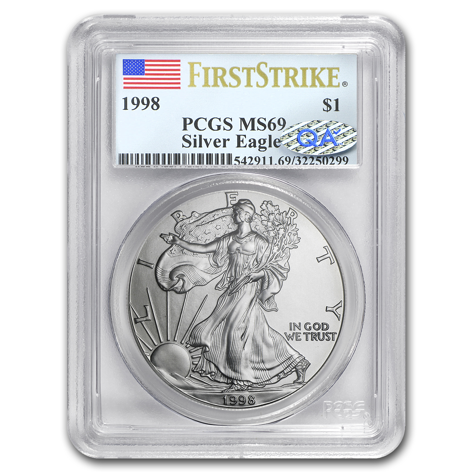 1998 Silver American Eagle MS-69 PCGS (First Strike)