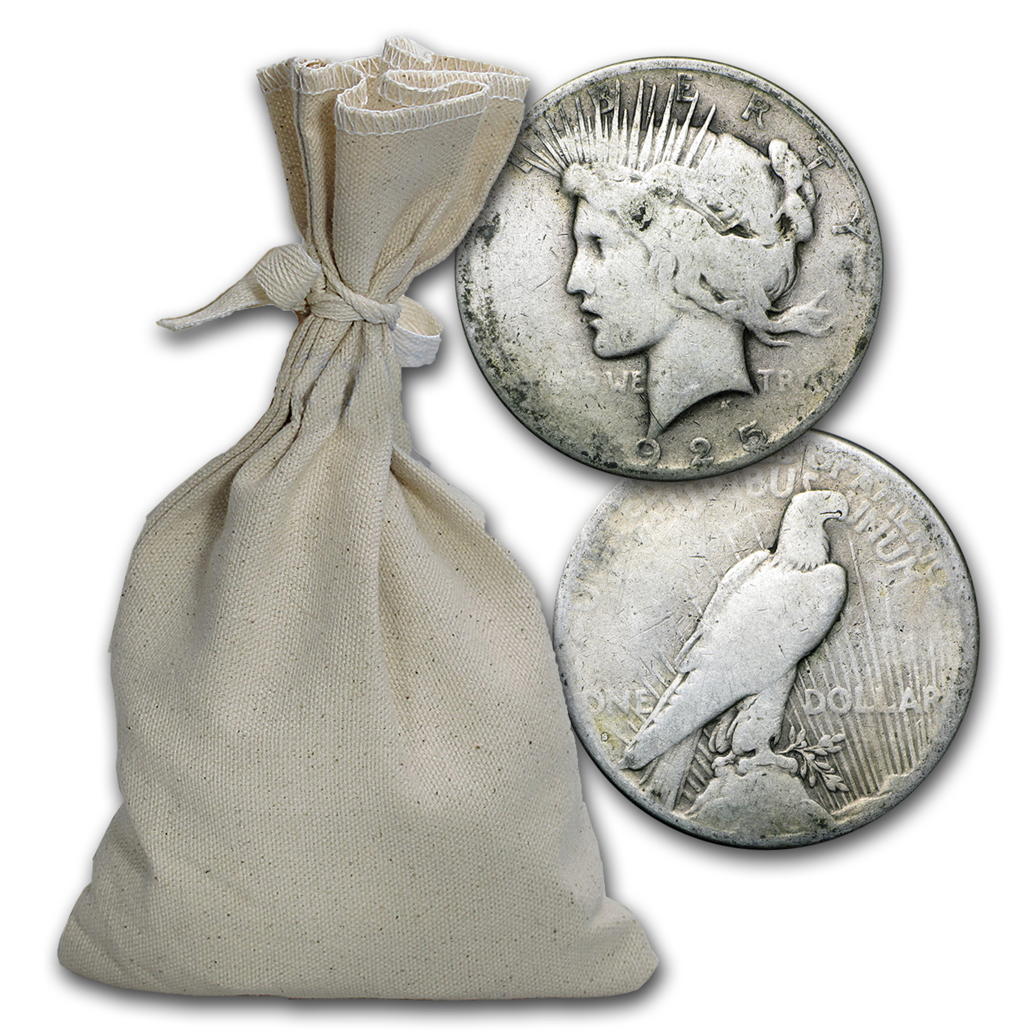 1922-1935 Peace Silver Dollars 100-Coin Bag Culls