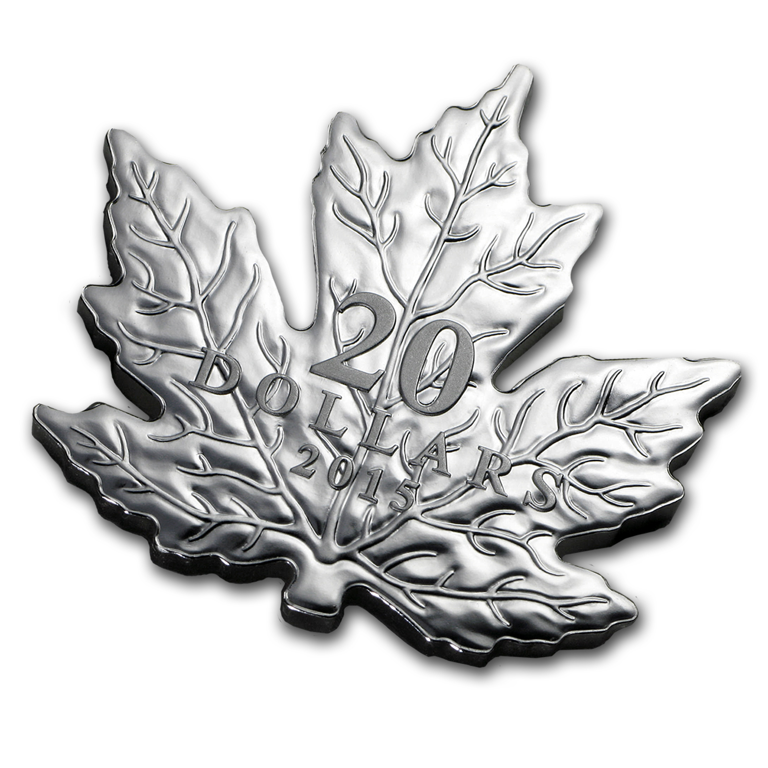 2015 Canada 1 oz Silver $20 Proof Maple Leaf Shaped Coin
