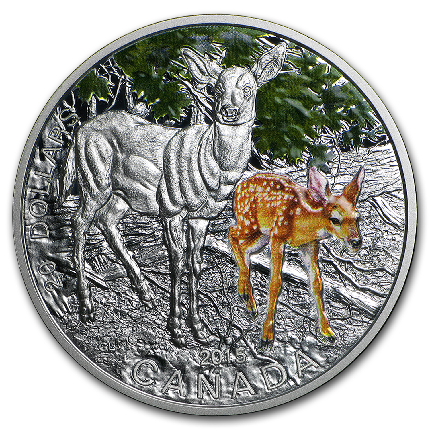 2015 Canada 1 oz Silver $20 Baby Animals (White-Tailed Deer)
