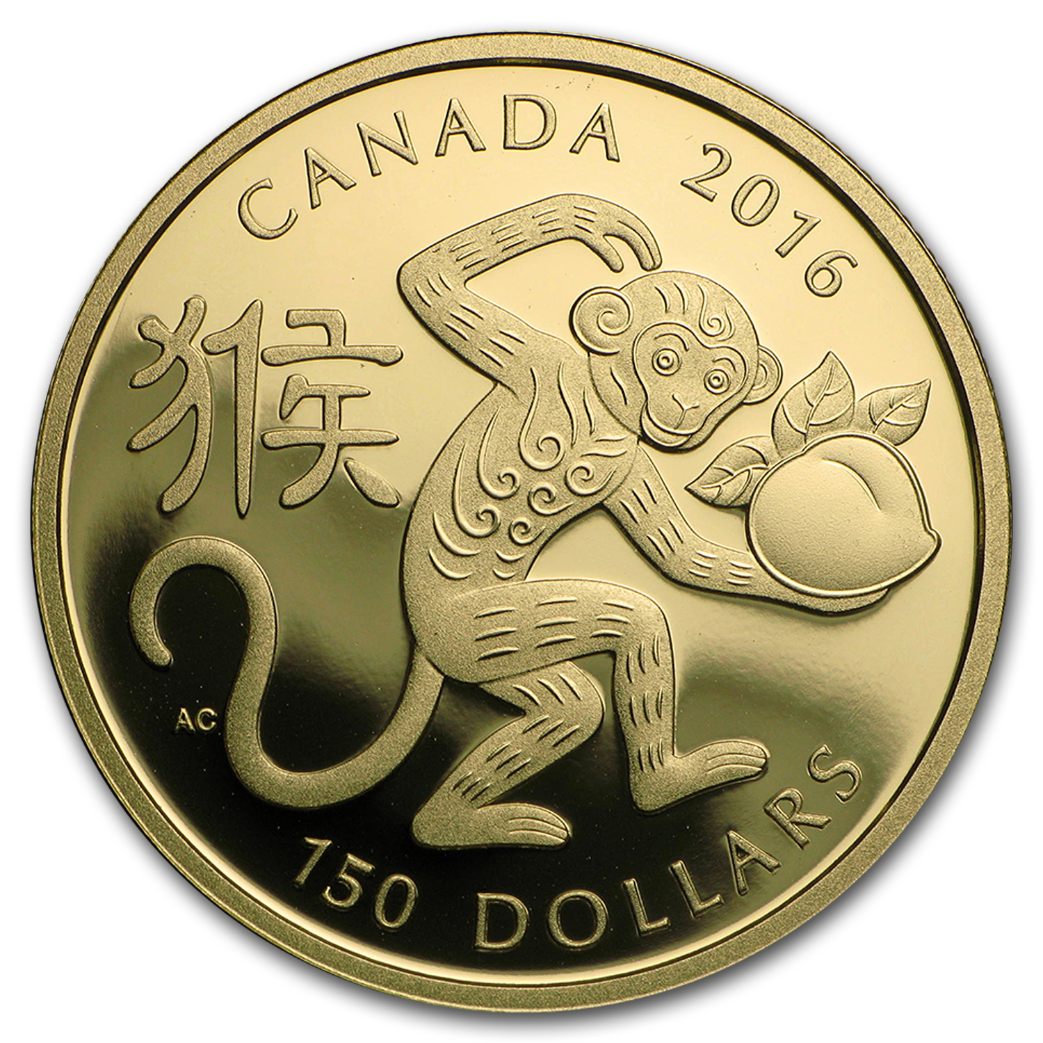 2016 Canada Gold $150 Year of the Monkey Proof
