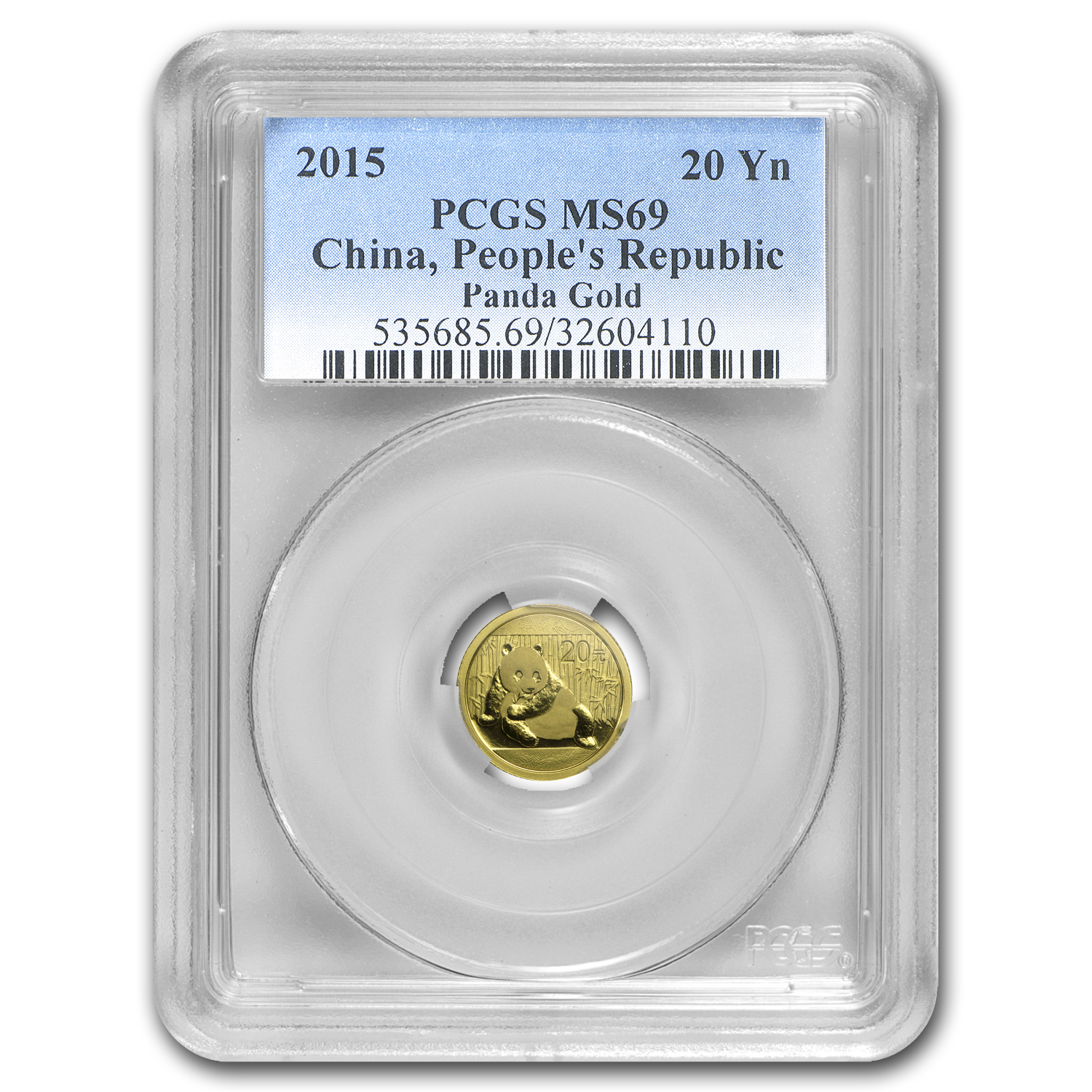 2015 China 1/20 oz Gold Panda MS-69 PCGS