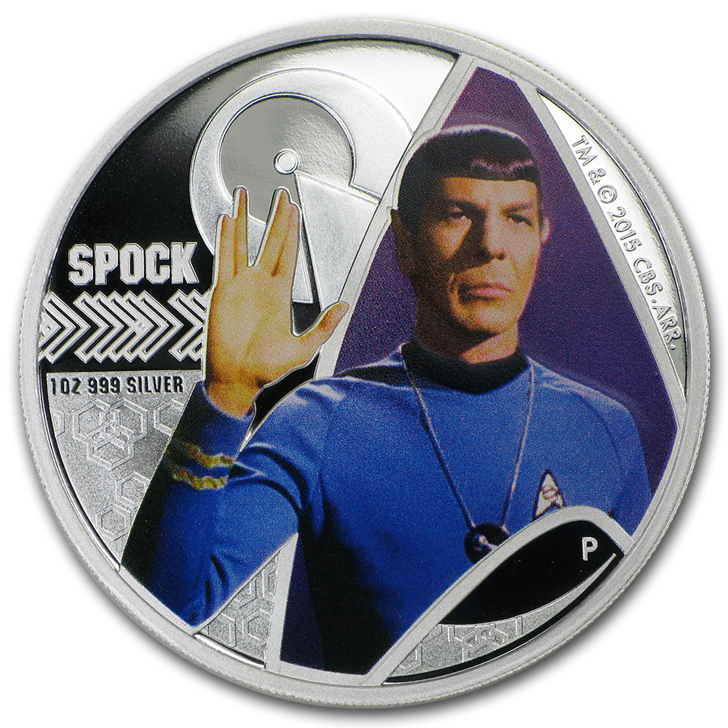2015 Tuvalu 1 oz Silver Star Trek Colored Proof (Spock)