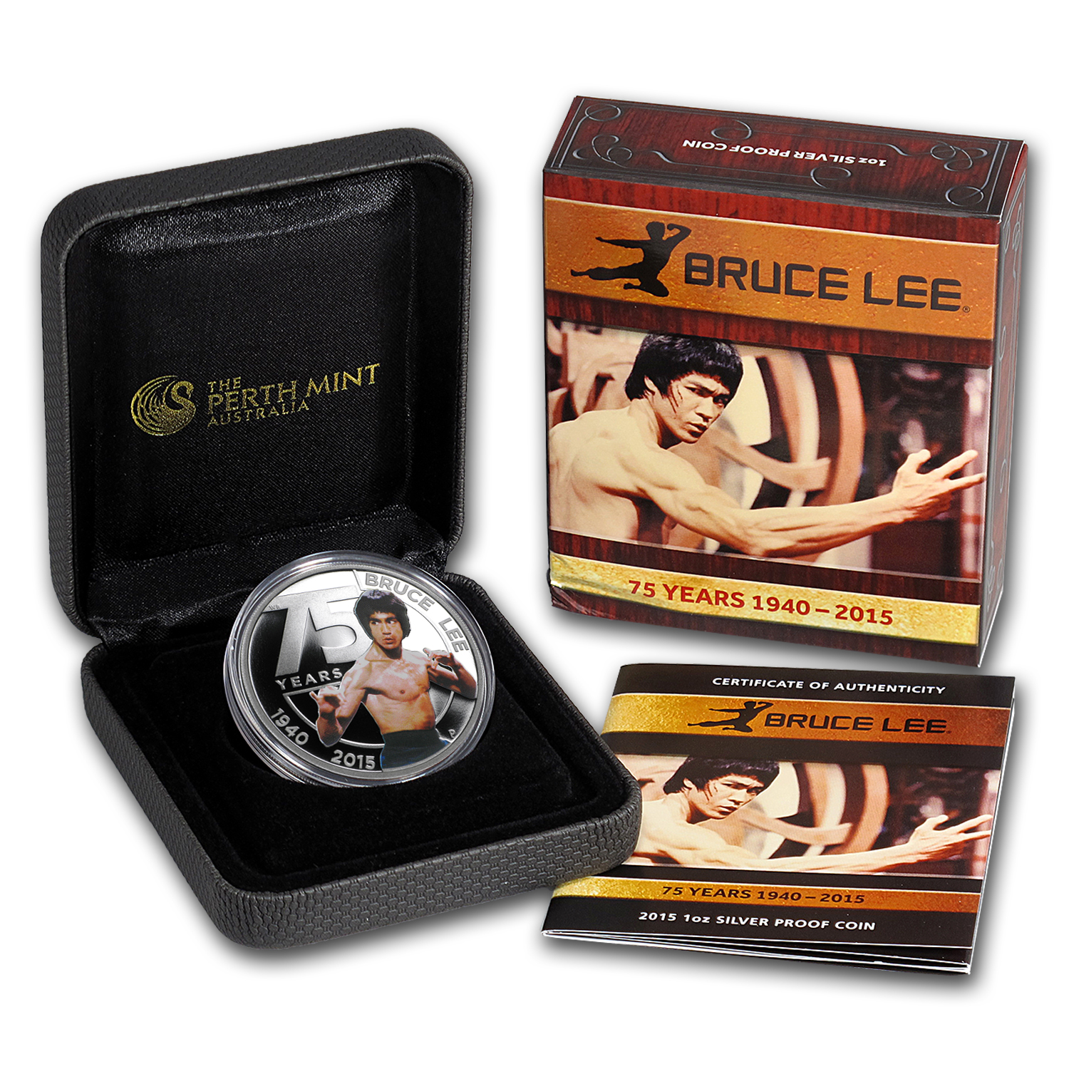 2015 Tuvalu 1 Oz Silver Proof Bruce Lee Colorized