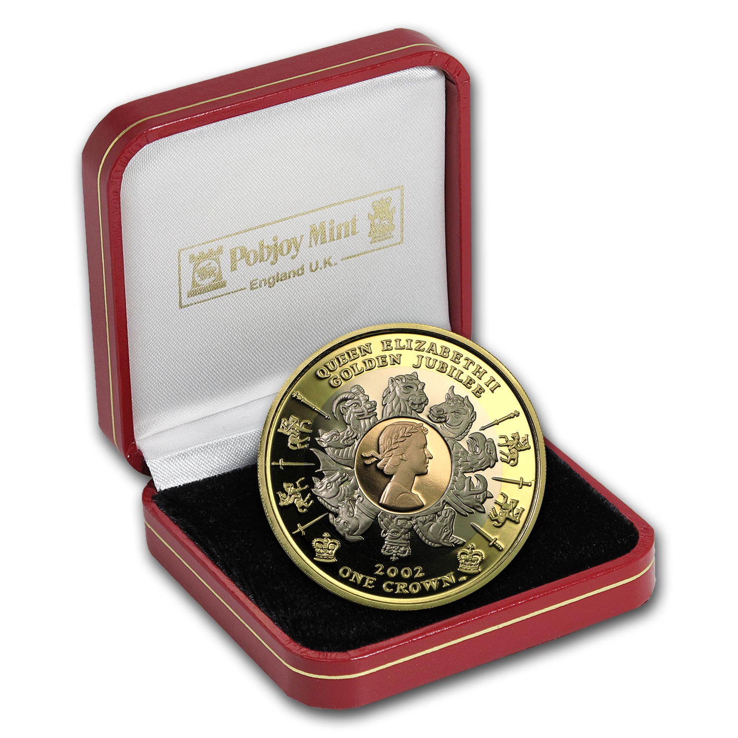 2002 Isle of Man 1 oz Proof Gold Crown Golden Jubilee Tri Color