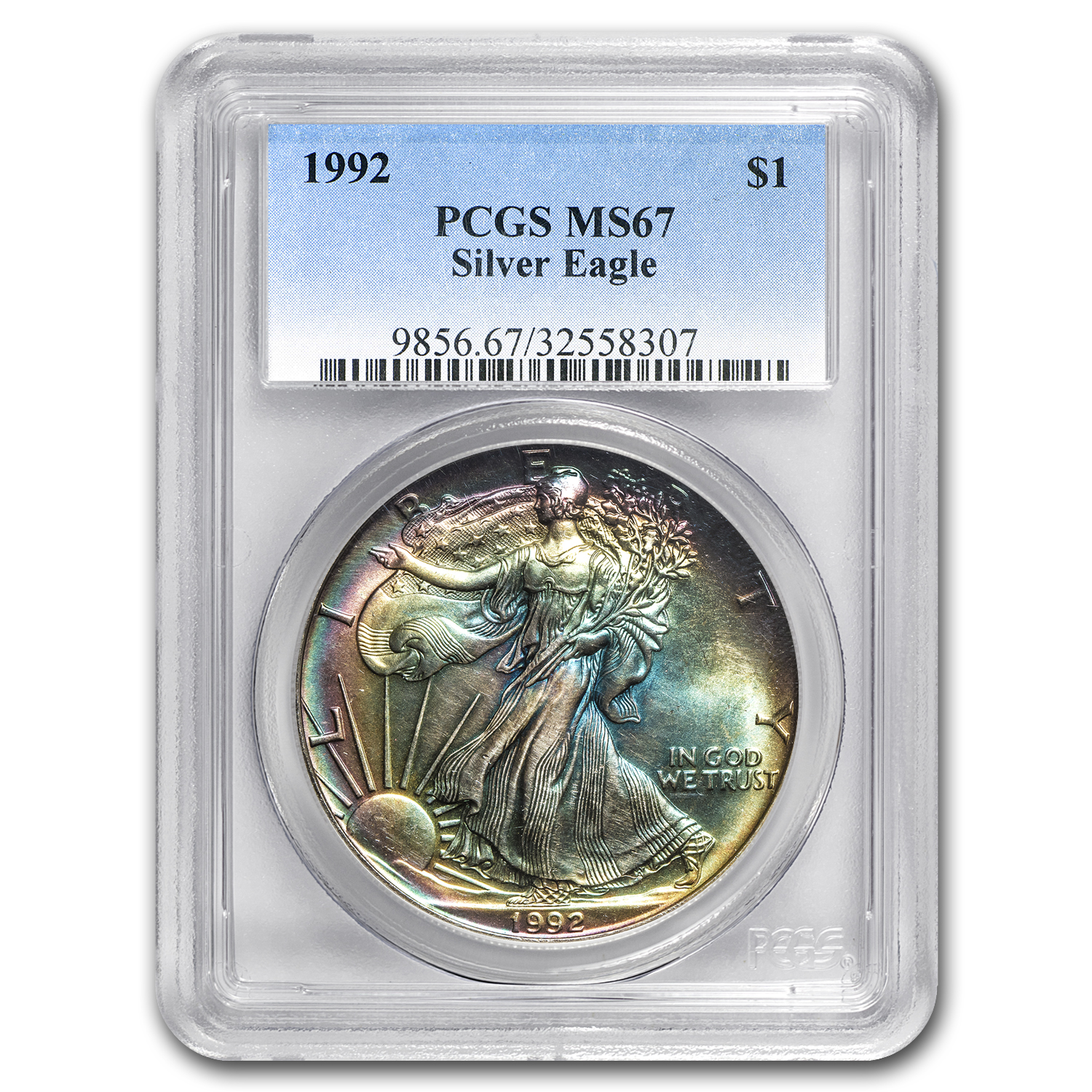1992 Silver American Eagle MS-67 PCGS (Major Obv and Rev Toning)