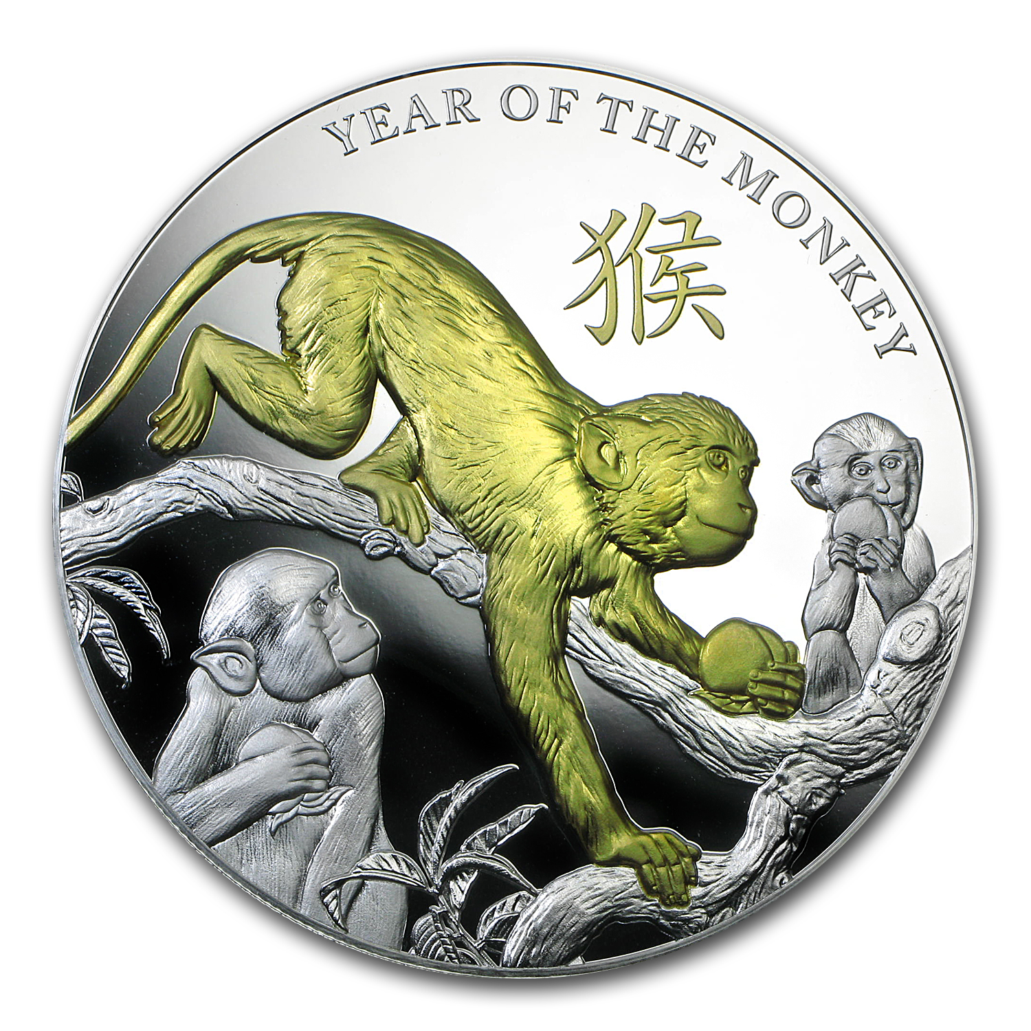 2016 Niue 5 oz Silver Year of the Monkey Proof (Gilded)