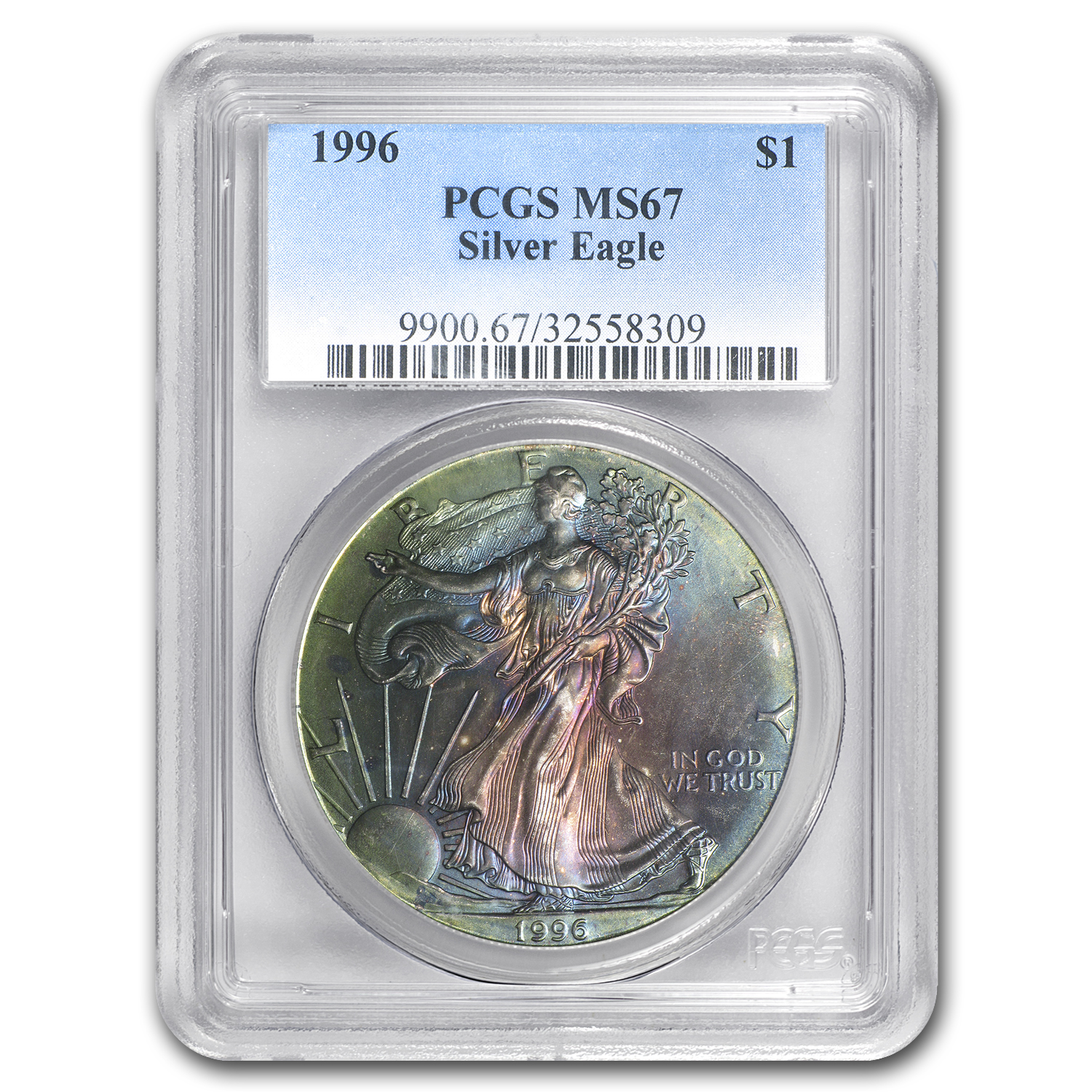 1996 Silver American Eagle MS-67 PCGS (Toned)