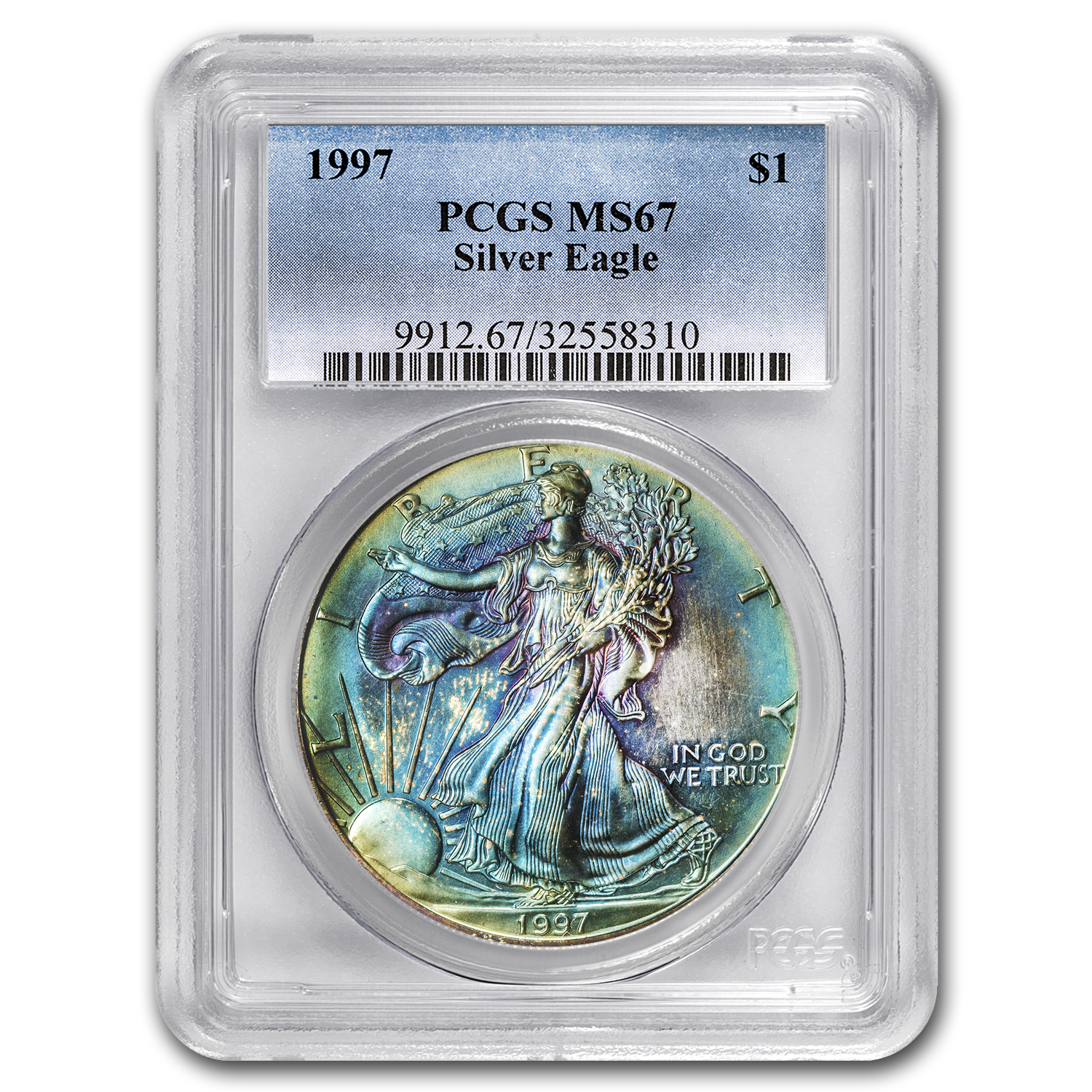 1997 Silver American Eagle MS-67 PCGS (Obv & Rev Toning)