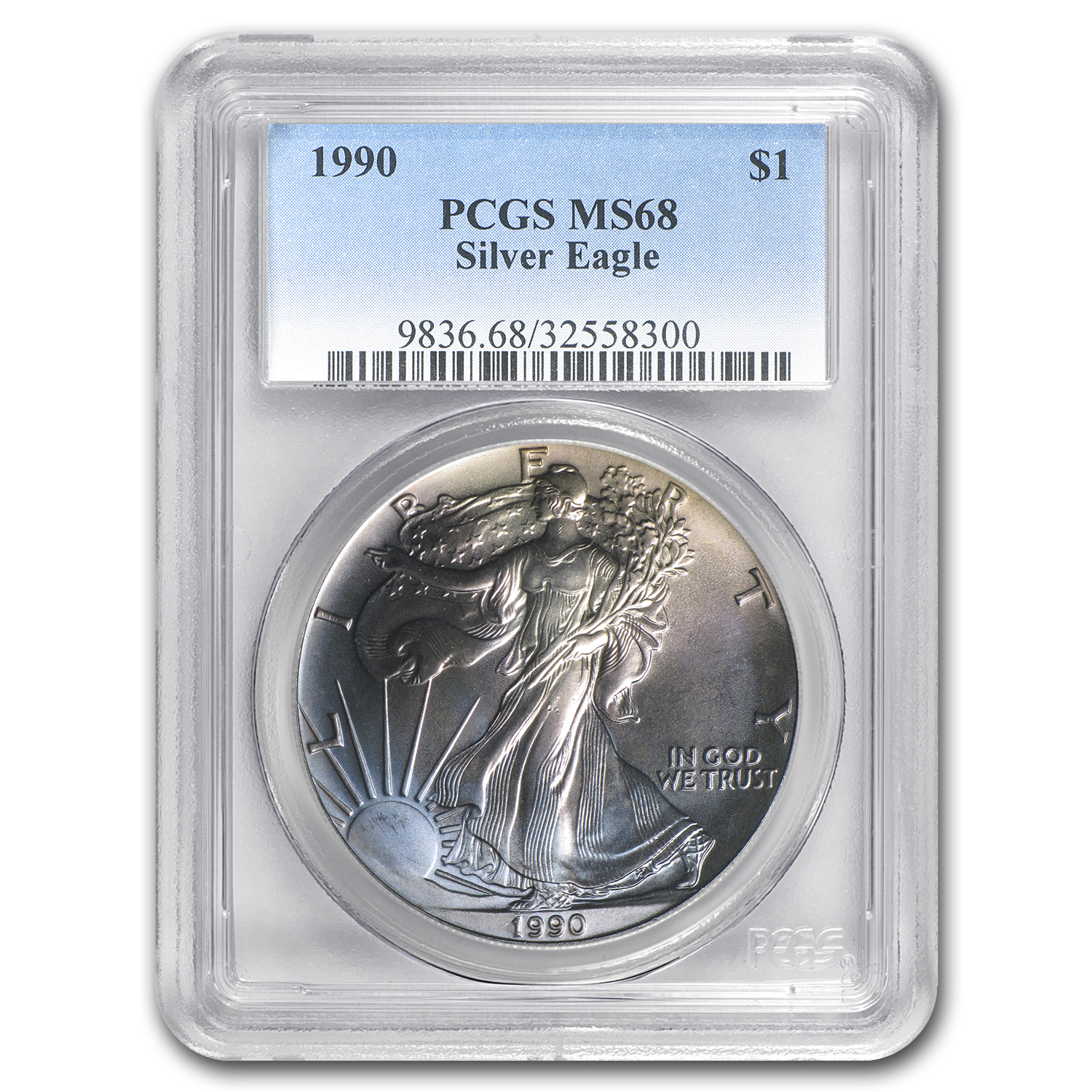 1990 Silver American Eagle MS-68 PCGS (Obv Toned)