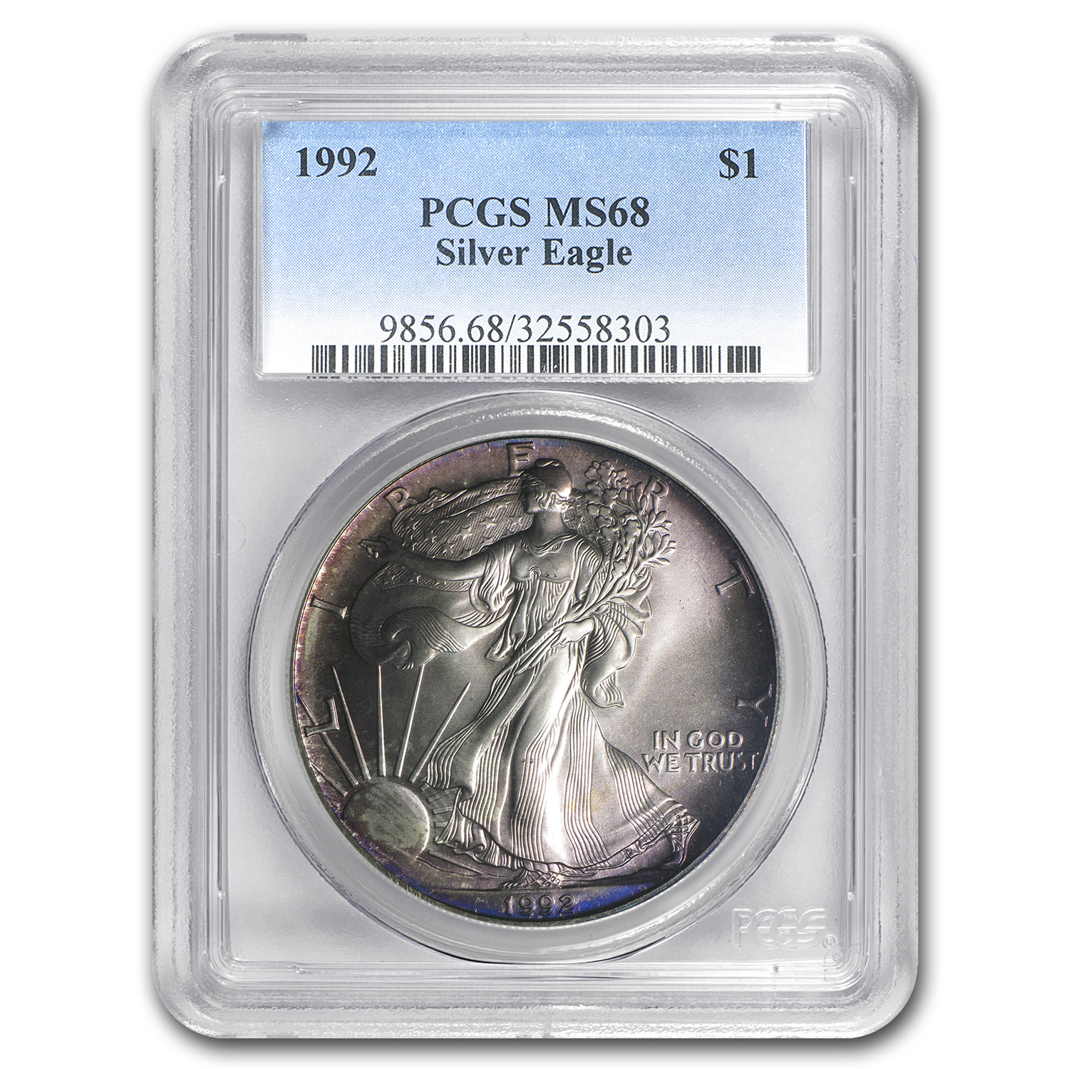 1992 Silver American Eagle MS-68 PCGS (Obv and Rev Toning)