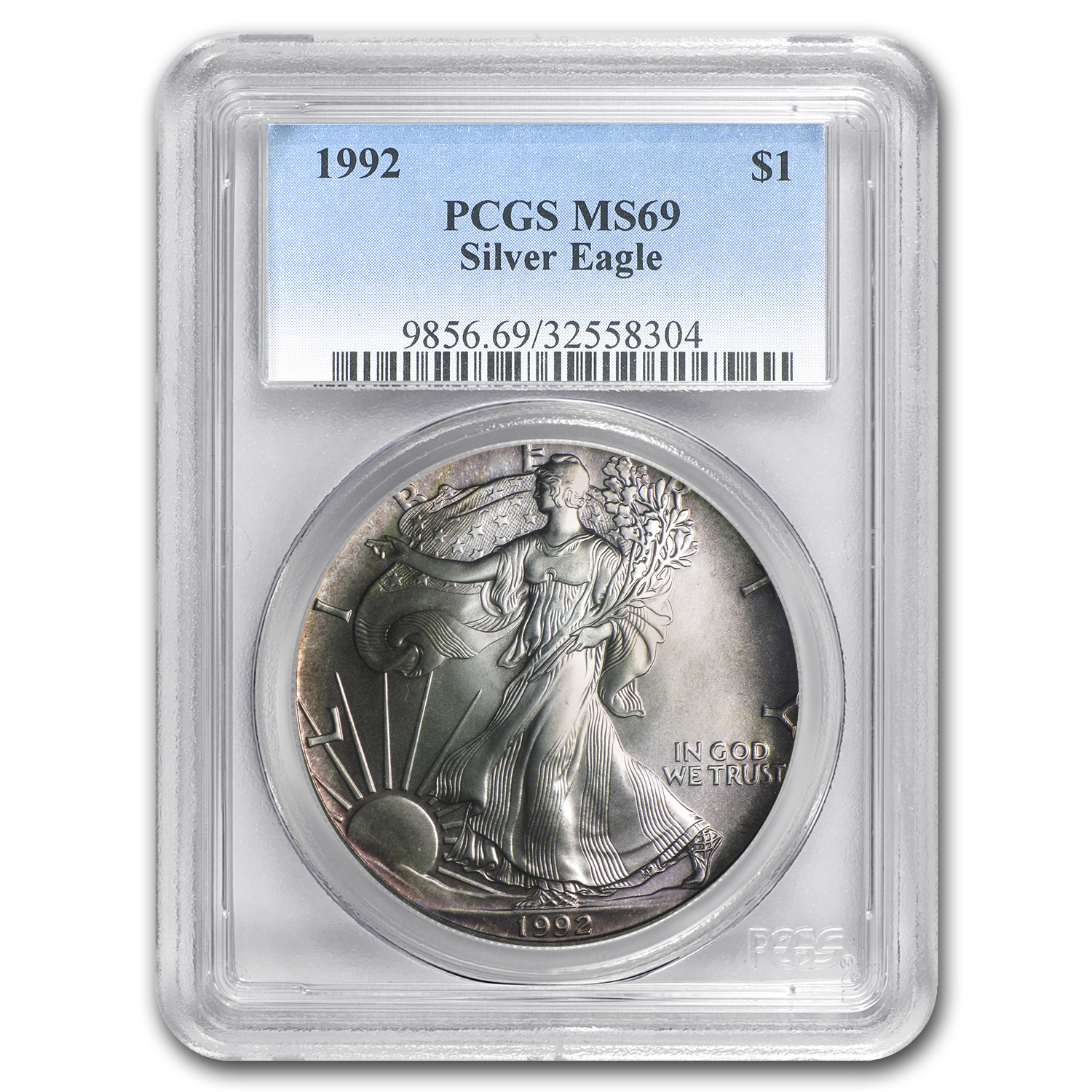 1992 Silver American Eagle MS-69 PCGS (Obv and Rev Toning)