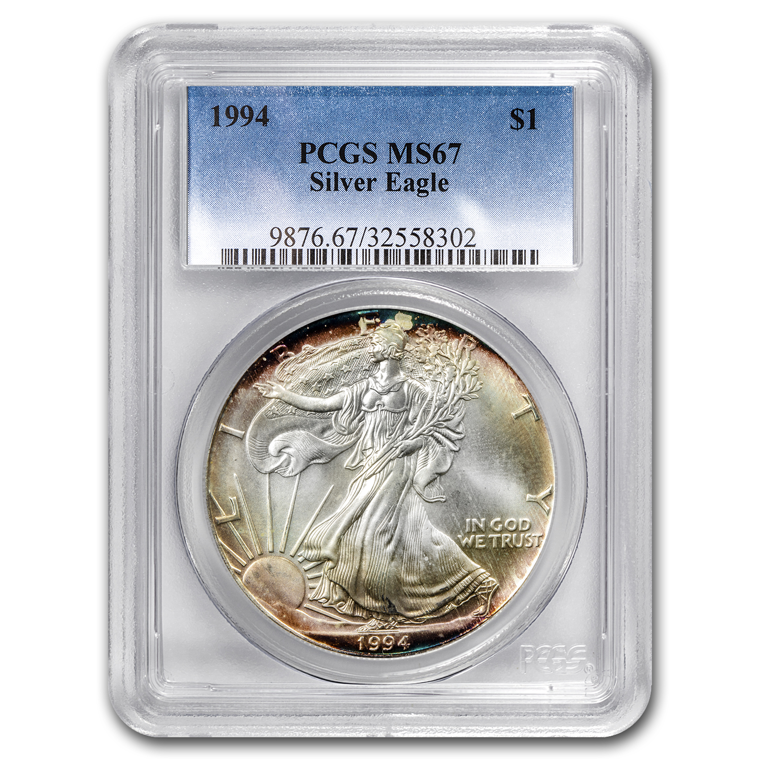 1994 Silver American Eagle MS-67 PCGS (Obv & Rev Toning)