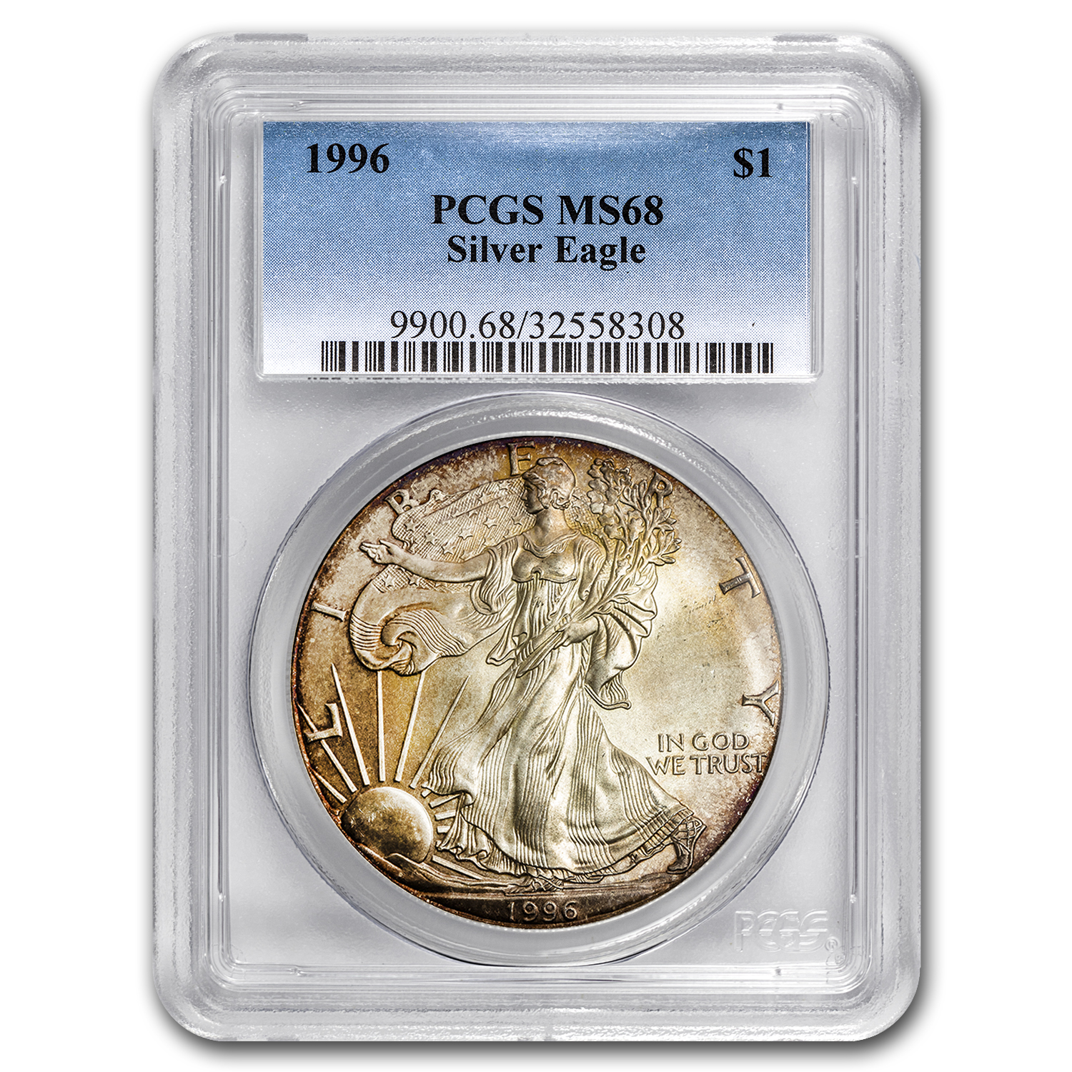 1996 Silver American Eagle MS-68 PCGS (Obv & Rev Toning)