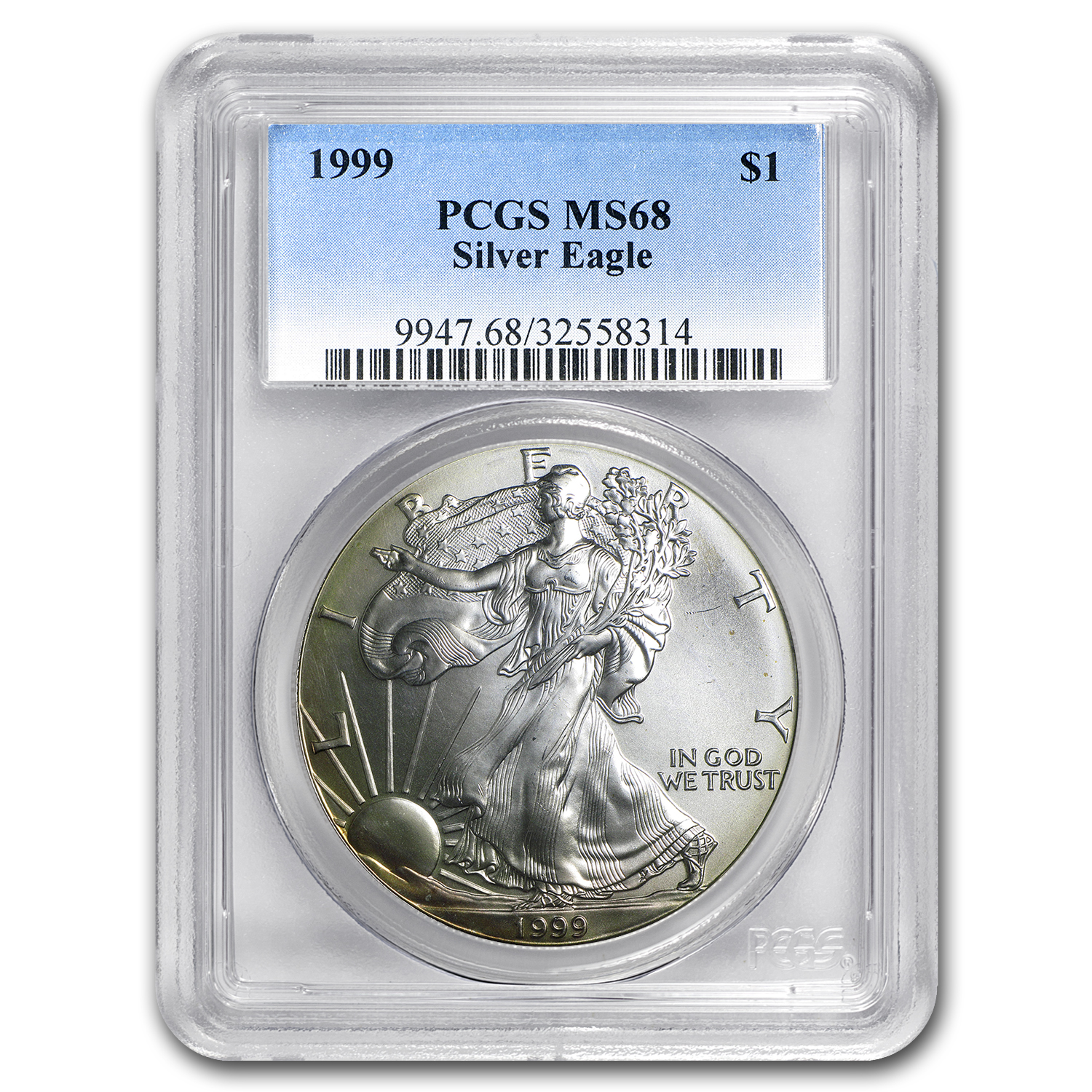 1999 Silver American Eagle MS-68 PCGS (Obv & Rev Toning)