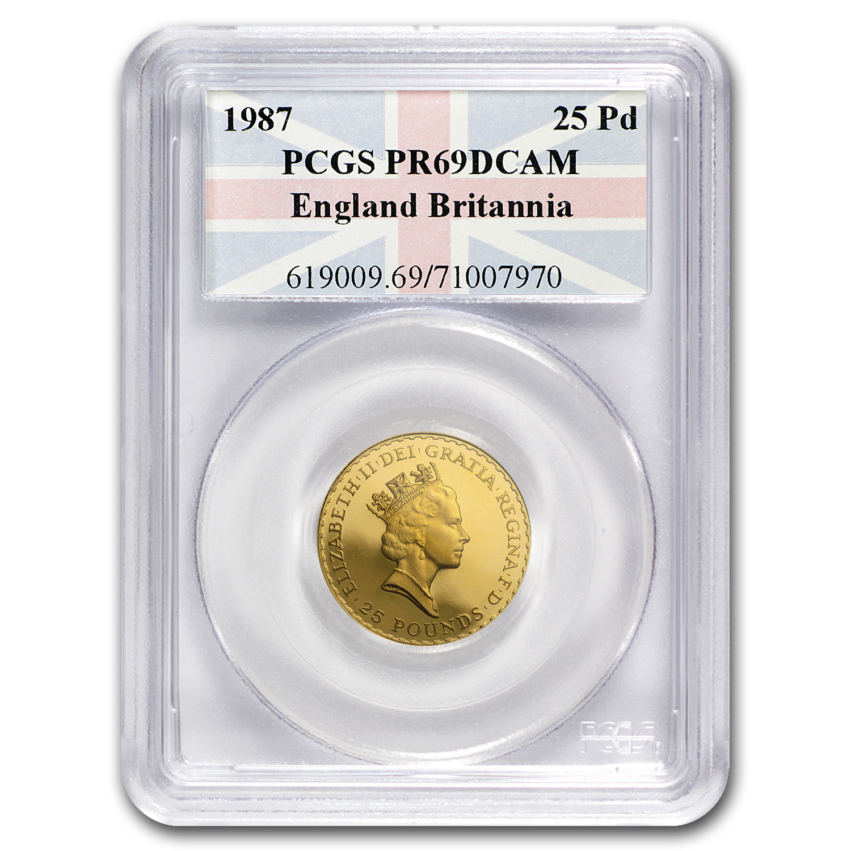 1987 4 Coin Gold Britannia Proof Set Pr 69 Pcgs Wooden