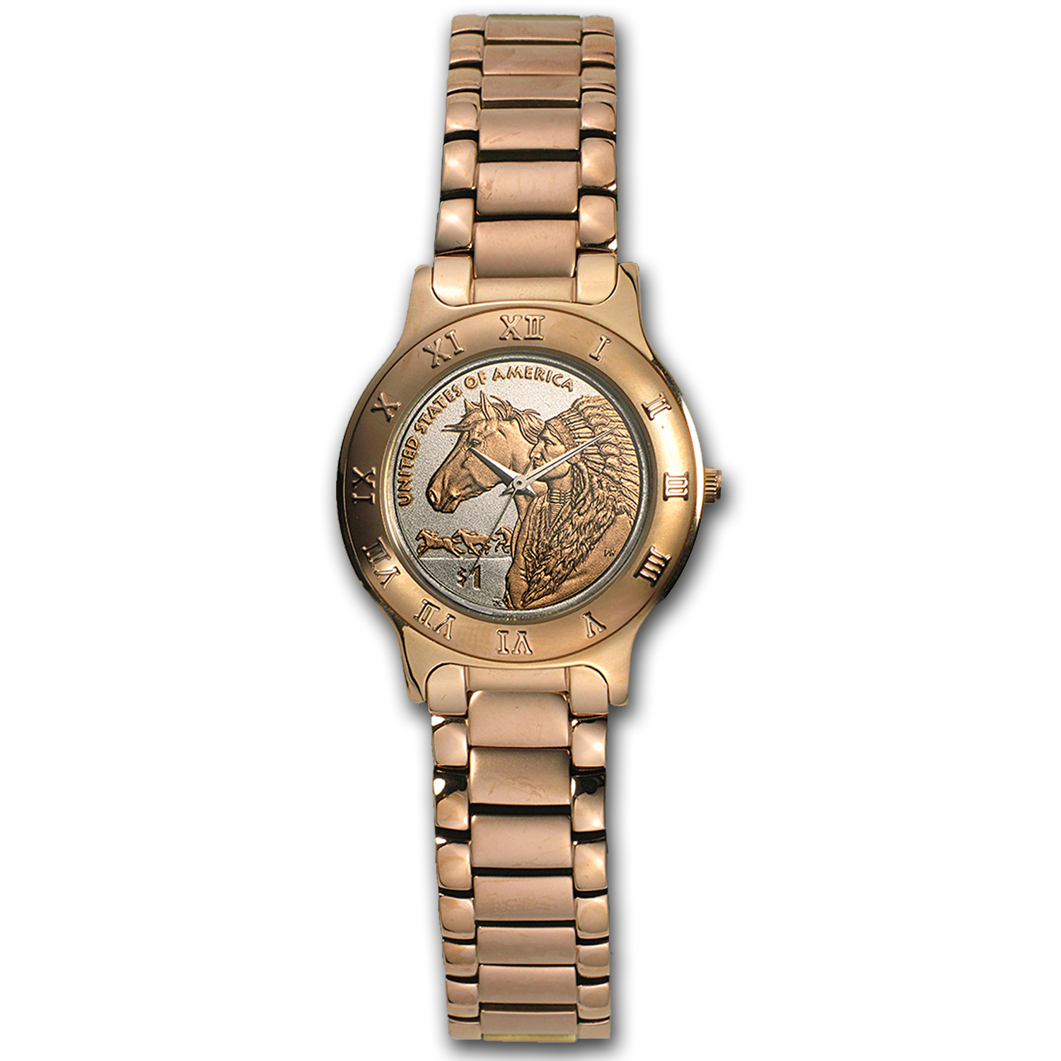 Ladies Native American Horse Rose Gold Coin Watch