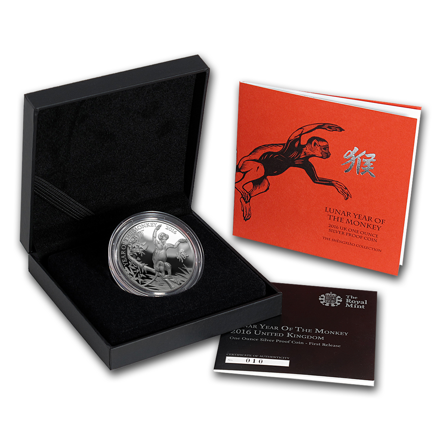 2016 GB 1 oz Silver Year of the Monkey Prf w/Box & COA (FR)