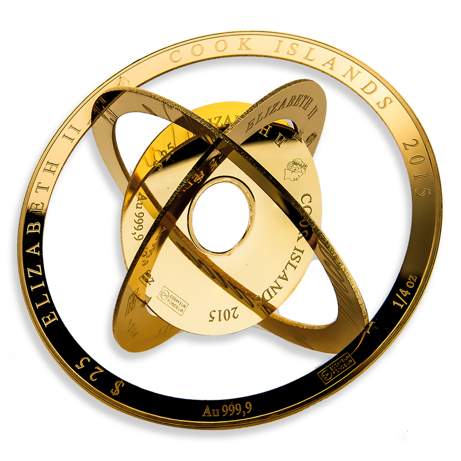 2015 1 oz Cook Islands $100 Gold Armillary Coin - Valcambi