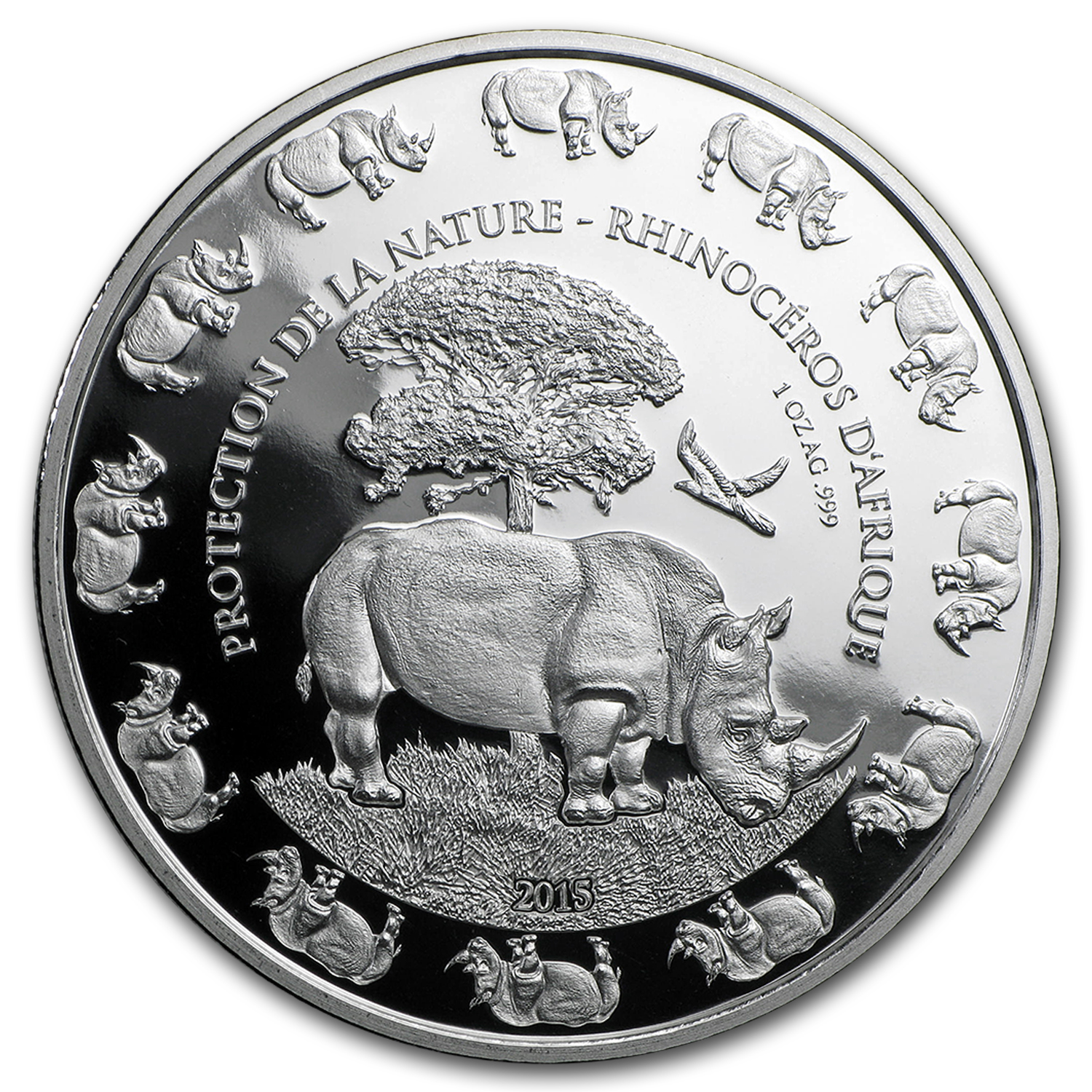 2015 Benin 1 oz Silver Protection de la Nature Rhino