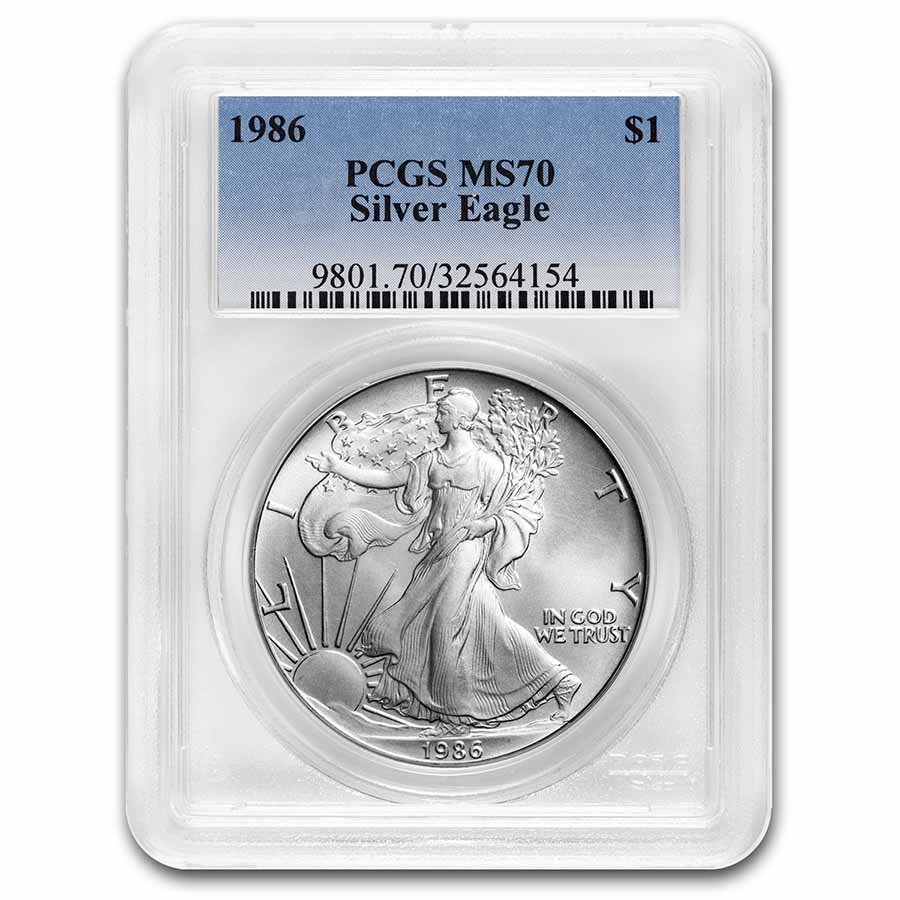 1986 Silver American Eagle MS-70 PCGS (Registry Set)