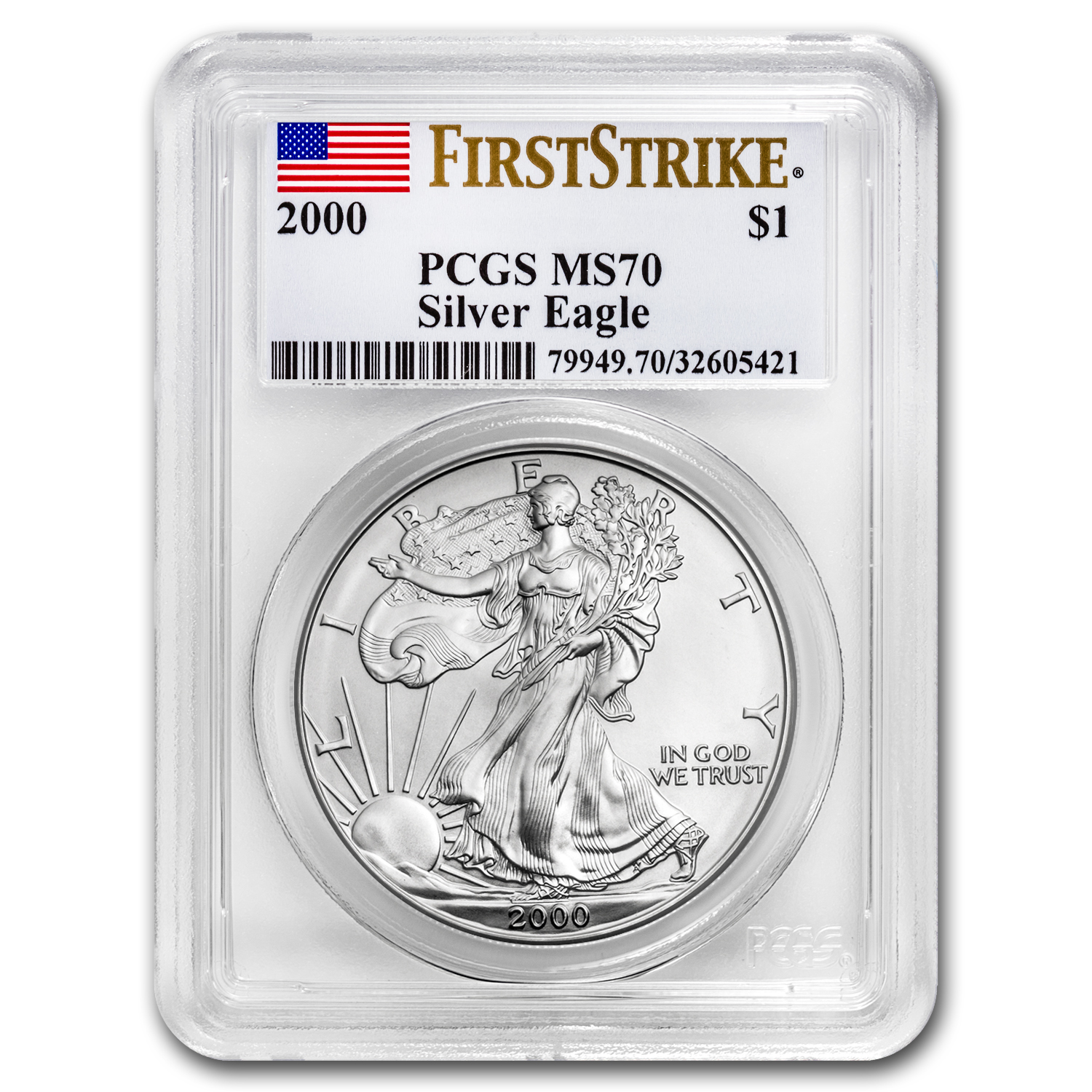 2000 1 oz Silver American Eagle MS-70 PCGS (First Strike)