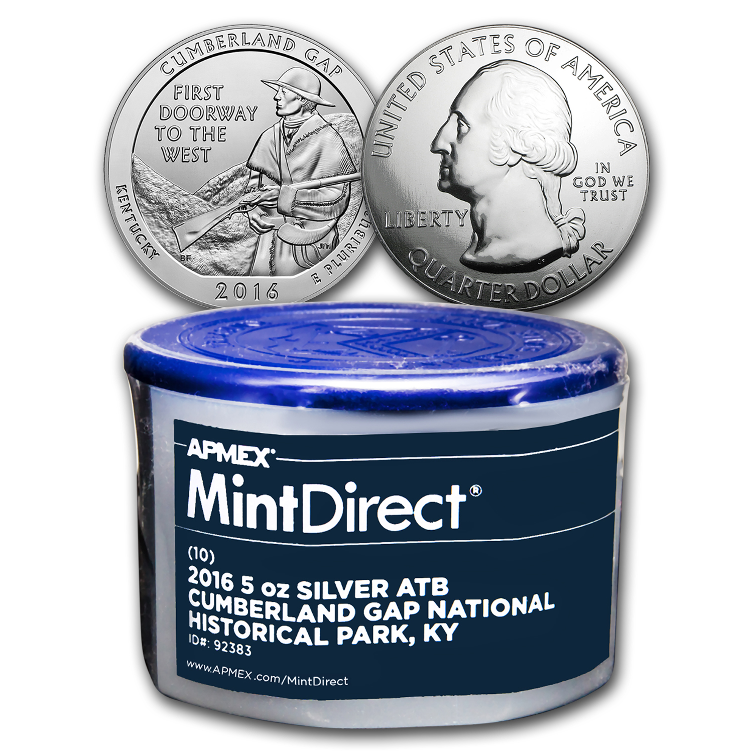 2016 5 oz Silver ATB Cumberland Gap (10-Coin MintDirect® Tube)