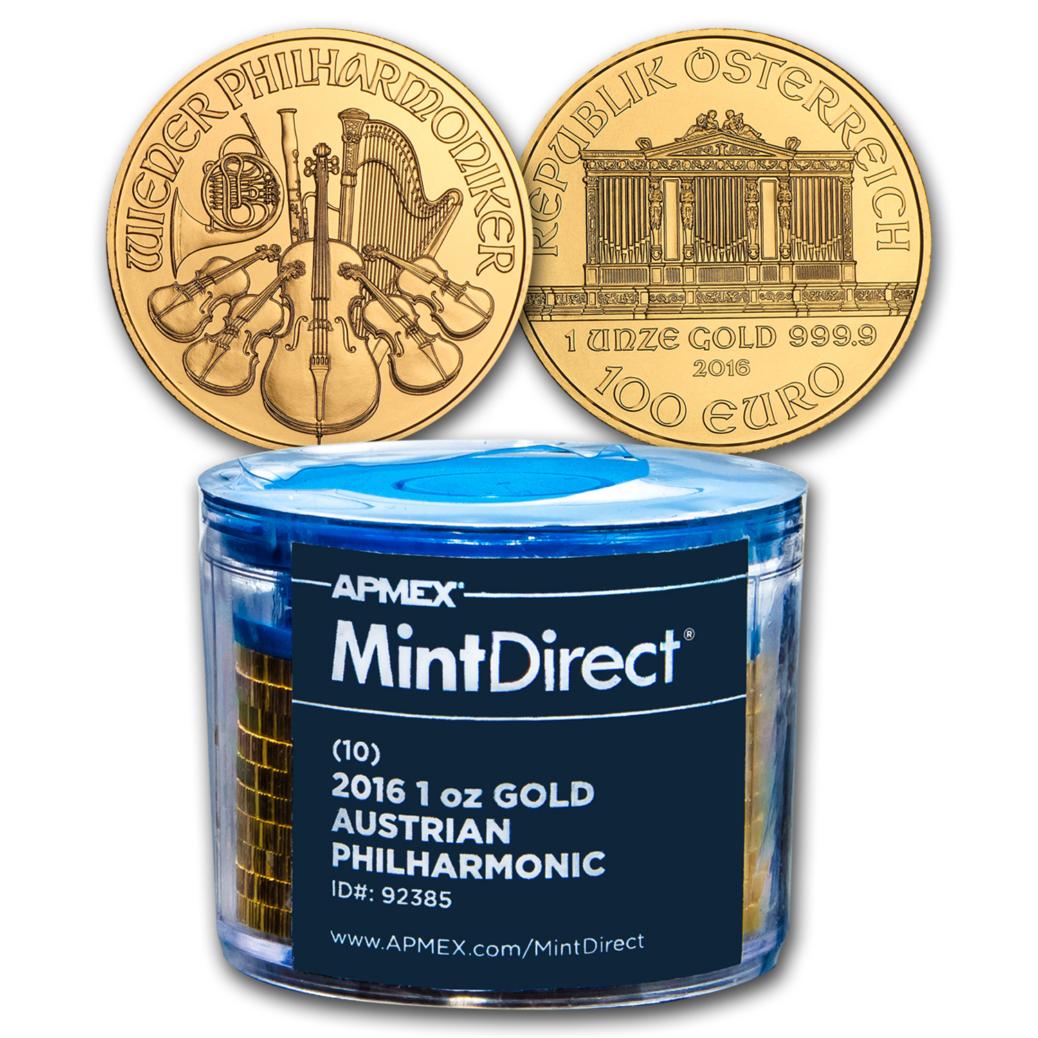 2016 Austria 1 oz Gold Philharmonic (10-Coin MintDirect® Tube)