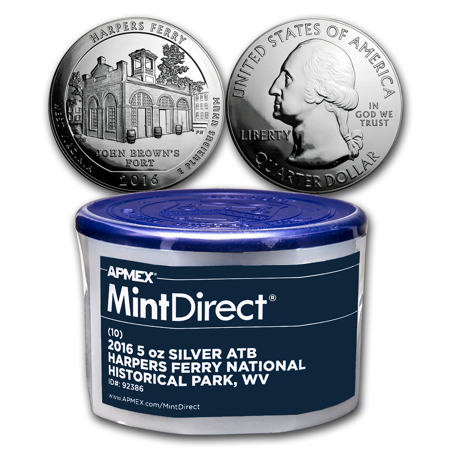 2016 5 oz Silver ATB Harpers Ferry (10-Coin MintDirect® Tube)