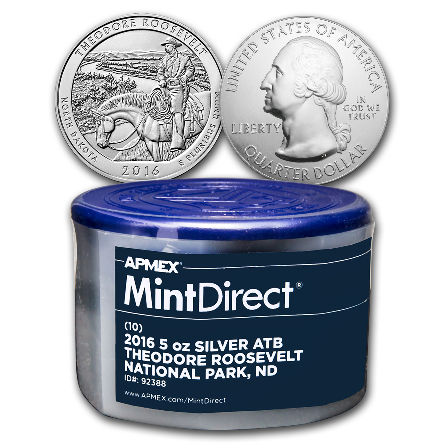 2016 5 oz Silver ATB Theodore Roosevelt (10-Coin MintDirect®Tube)