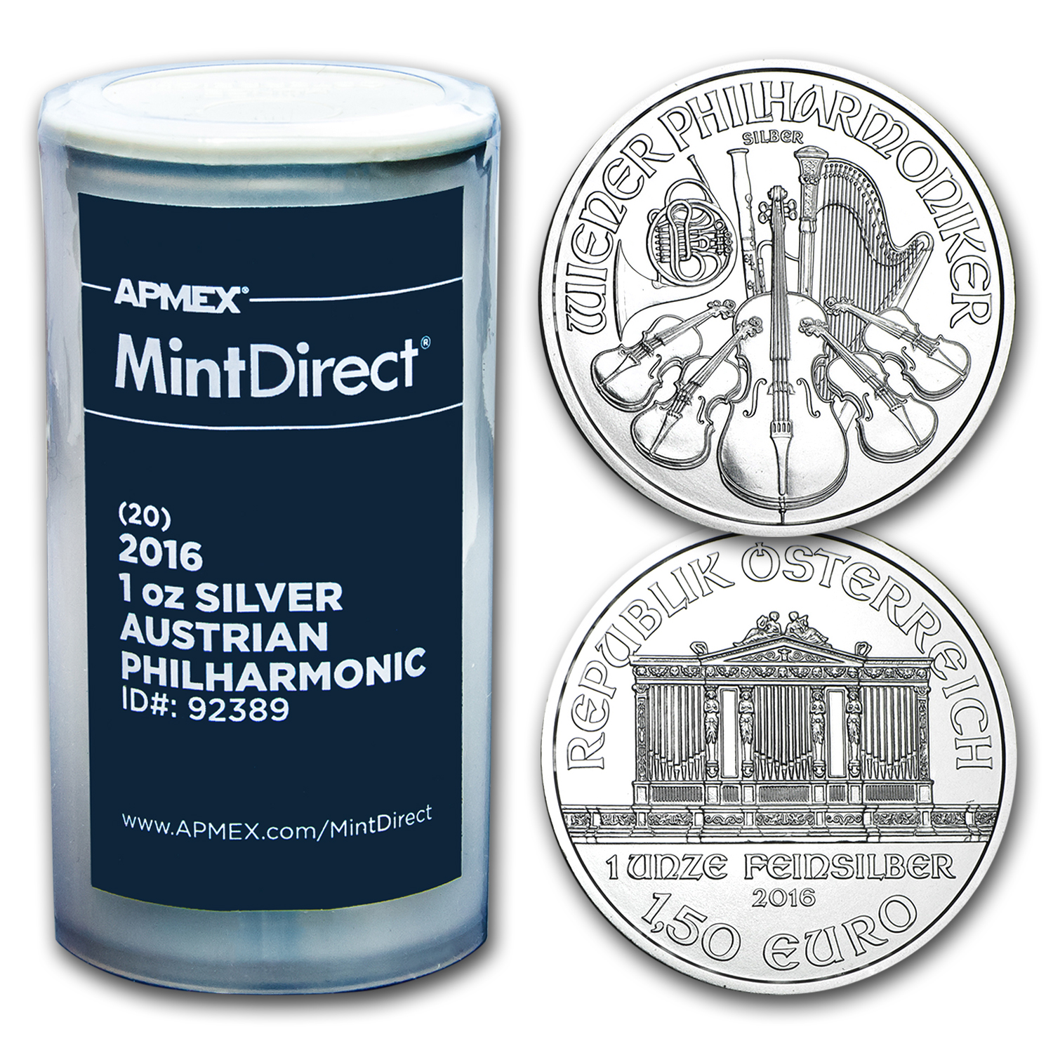 2016 1 oz Silver Philharmonics (20-Coin MintDirect® Tube)