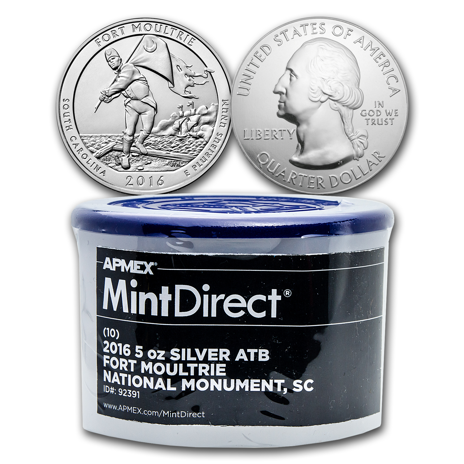 2016 5 oz Silver ATB Fort Moultrie (10-Coin MintDirect® Tube)