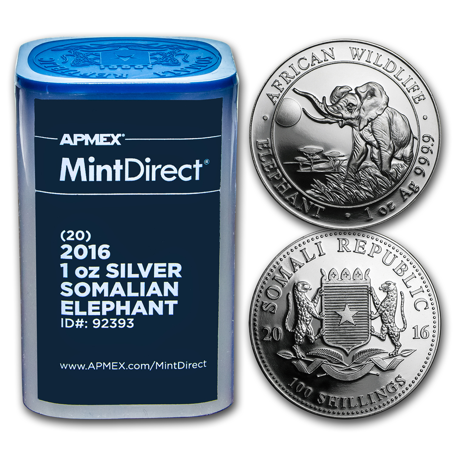 2016 Somalia 1 oz Silver Elephant (20-Coin MintDirect® Tube)