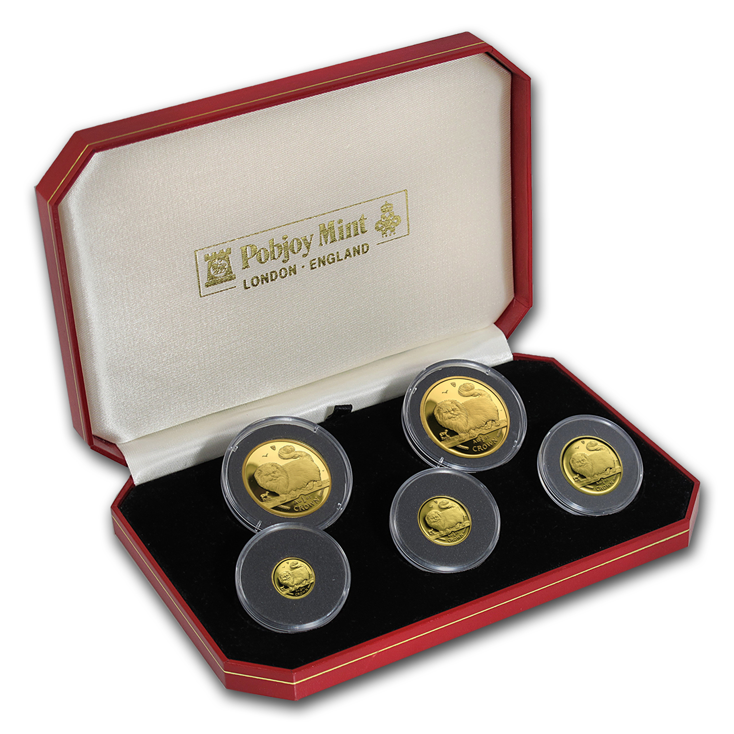 1997 Isle of Man 5-Coin Gold Long Haired Smoke Cat Set