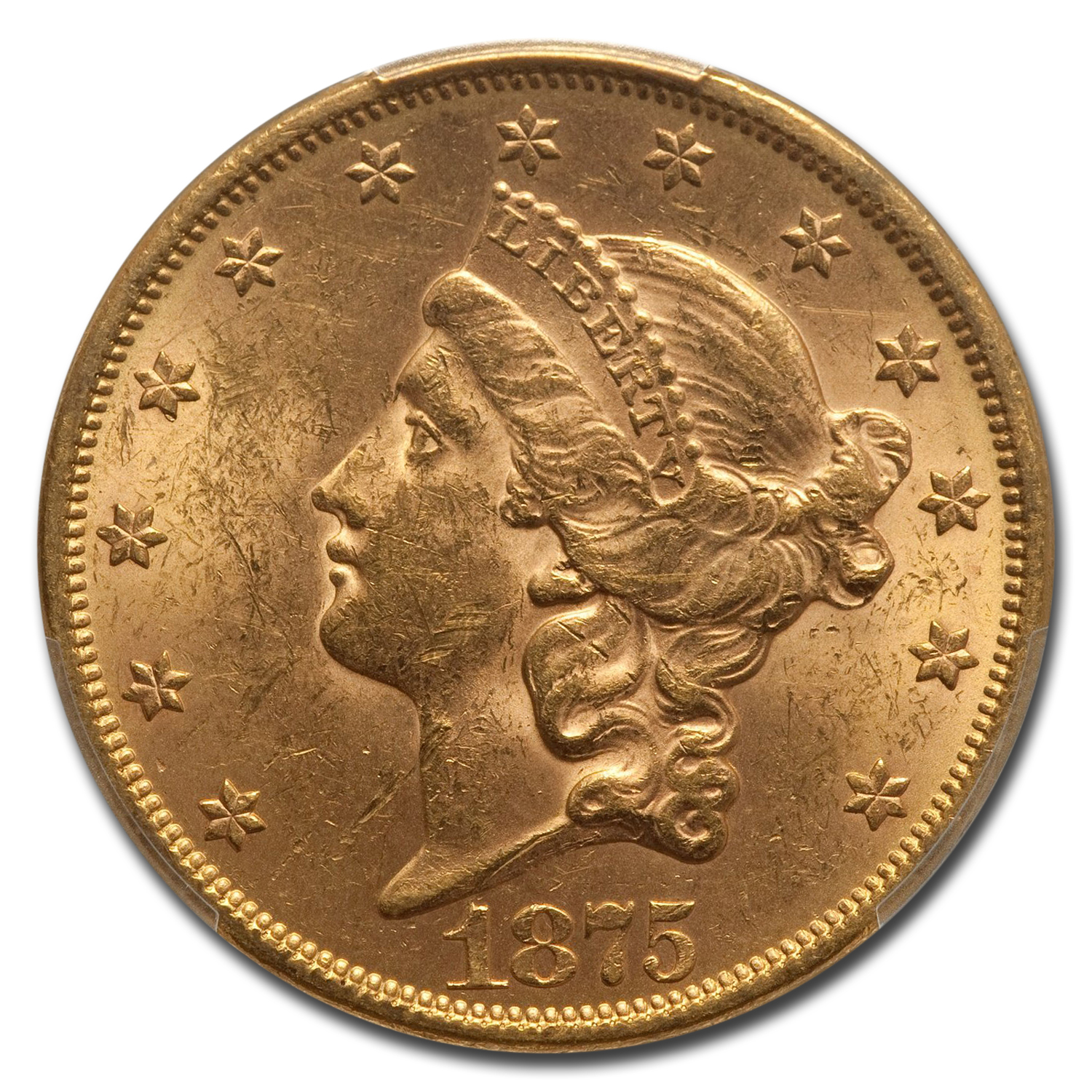 1875 $20 Liberty Gold Double Eagle MS-62 PCGS