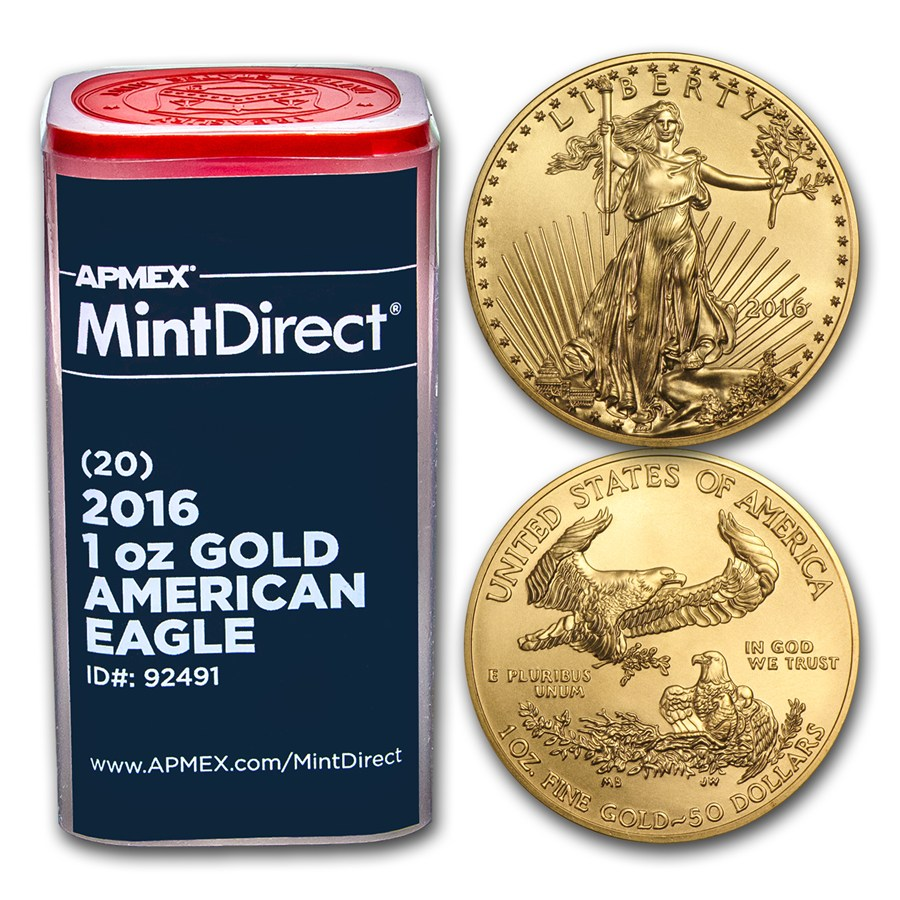 2016 1 Oz Gold American Eagle 20 Coin Mintdirect 174 Tube
