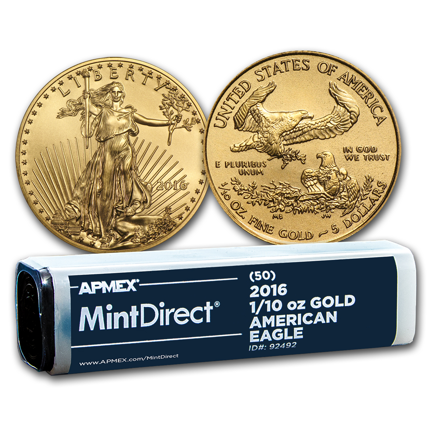 2016 1/10 oz Gold American Eagle (50-Coin MintDirect® Tube)