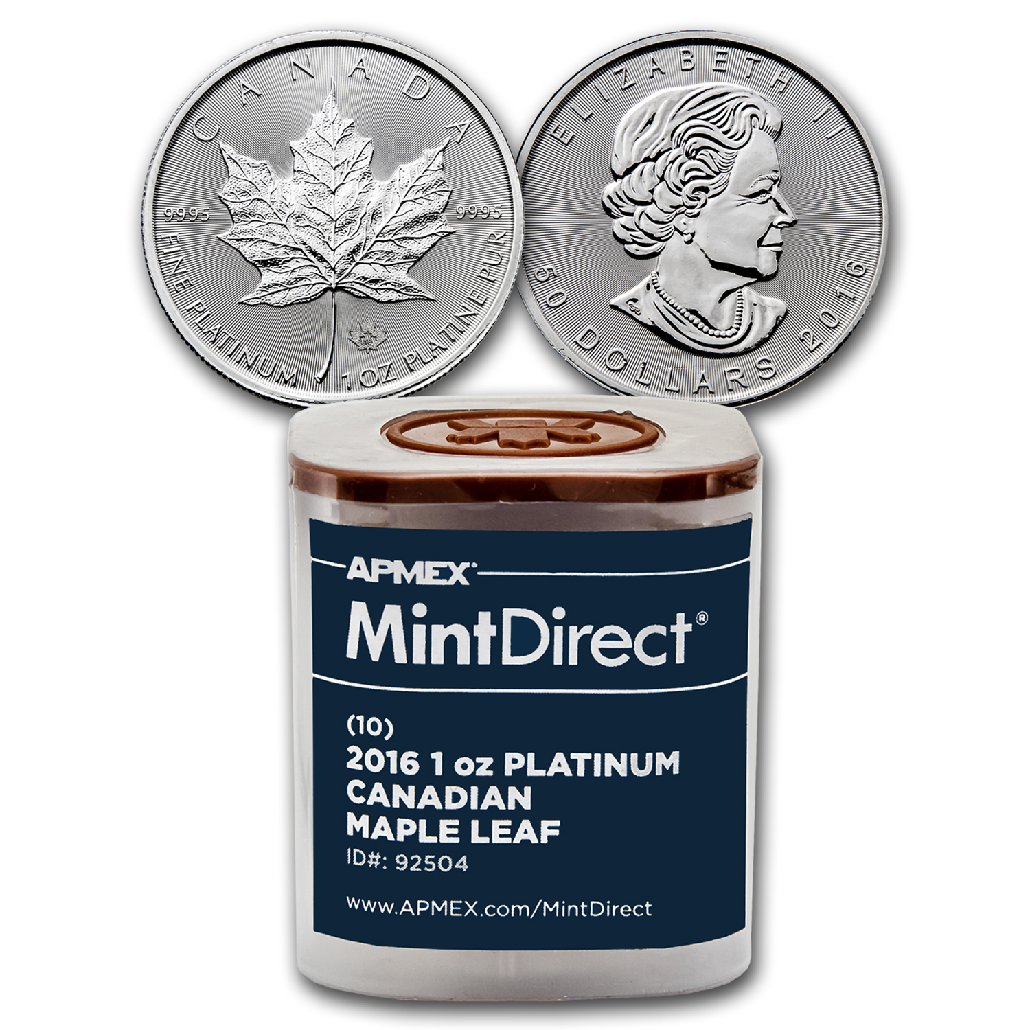 2016 Canada 1 oz Platinum Maple Leaf (10-Coin MintDirect® Tube)