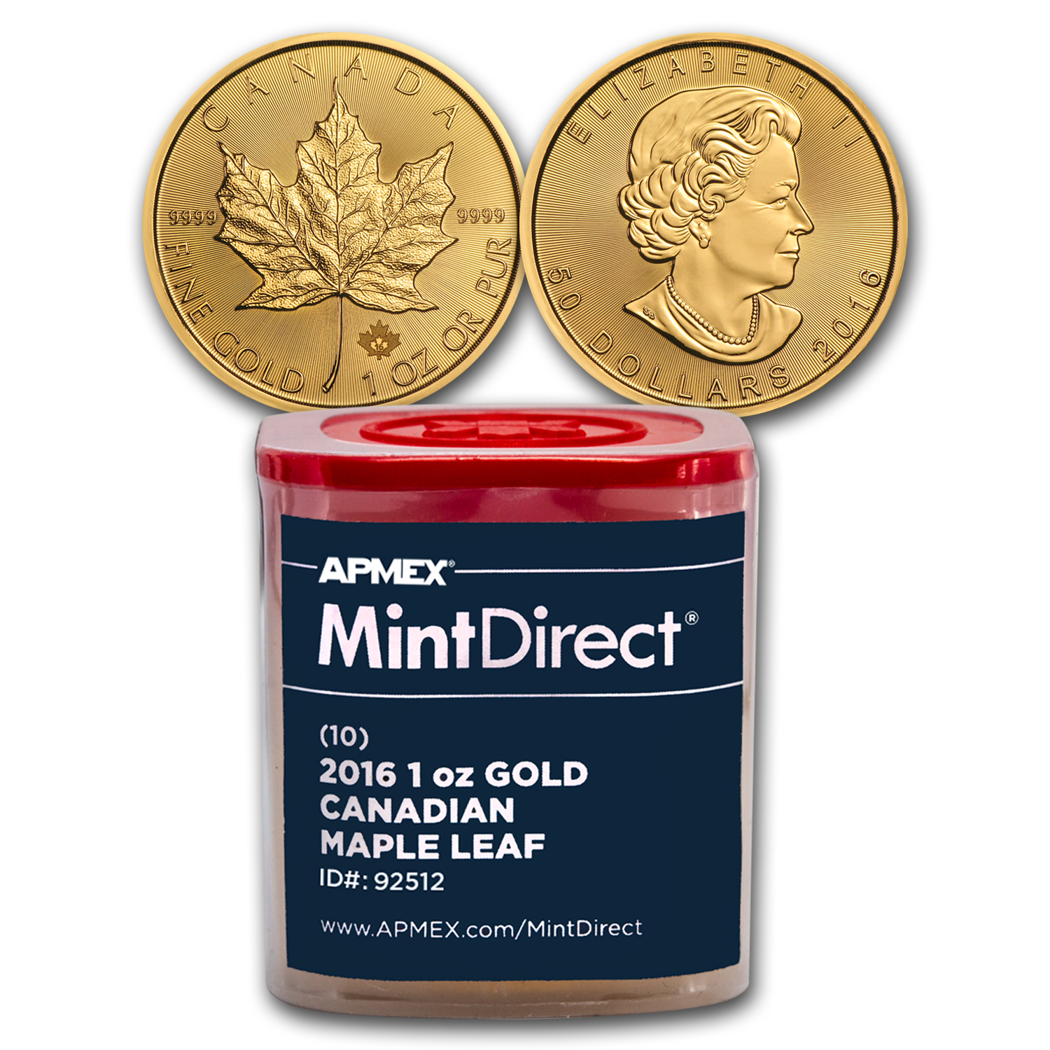 2016 1 oz Gold Maple Leafs (10-Coin MintDirect® Tube)
