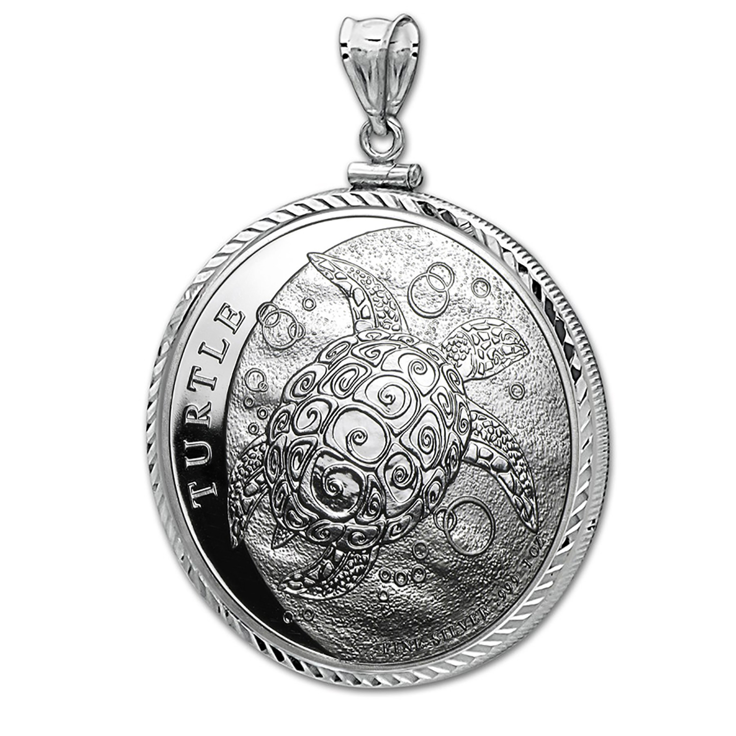 2016 Niue 1 oz Silver $2 Hawksbill Turtle Pendant (Diamond-Cut)