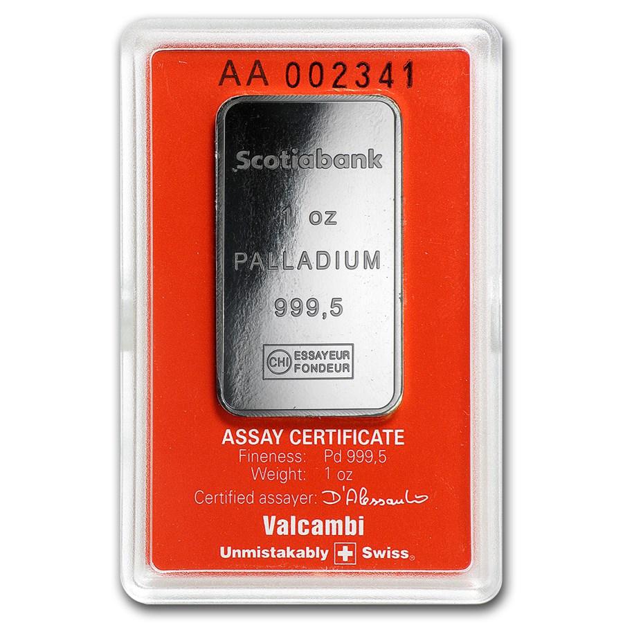 1 Oz Scotiabank Palladium Bar 999 Fine Palladium In