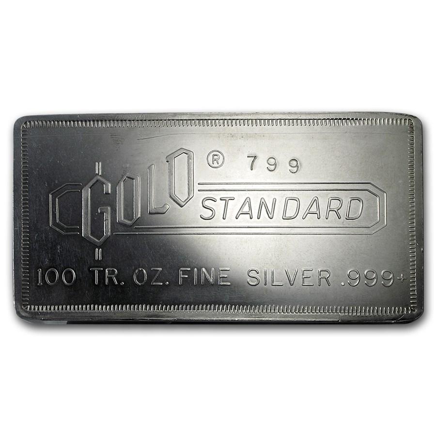 100 Oz Silver Bar Engelhard Gold Standard 799 100