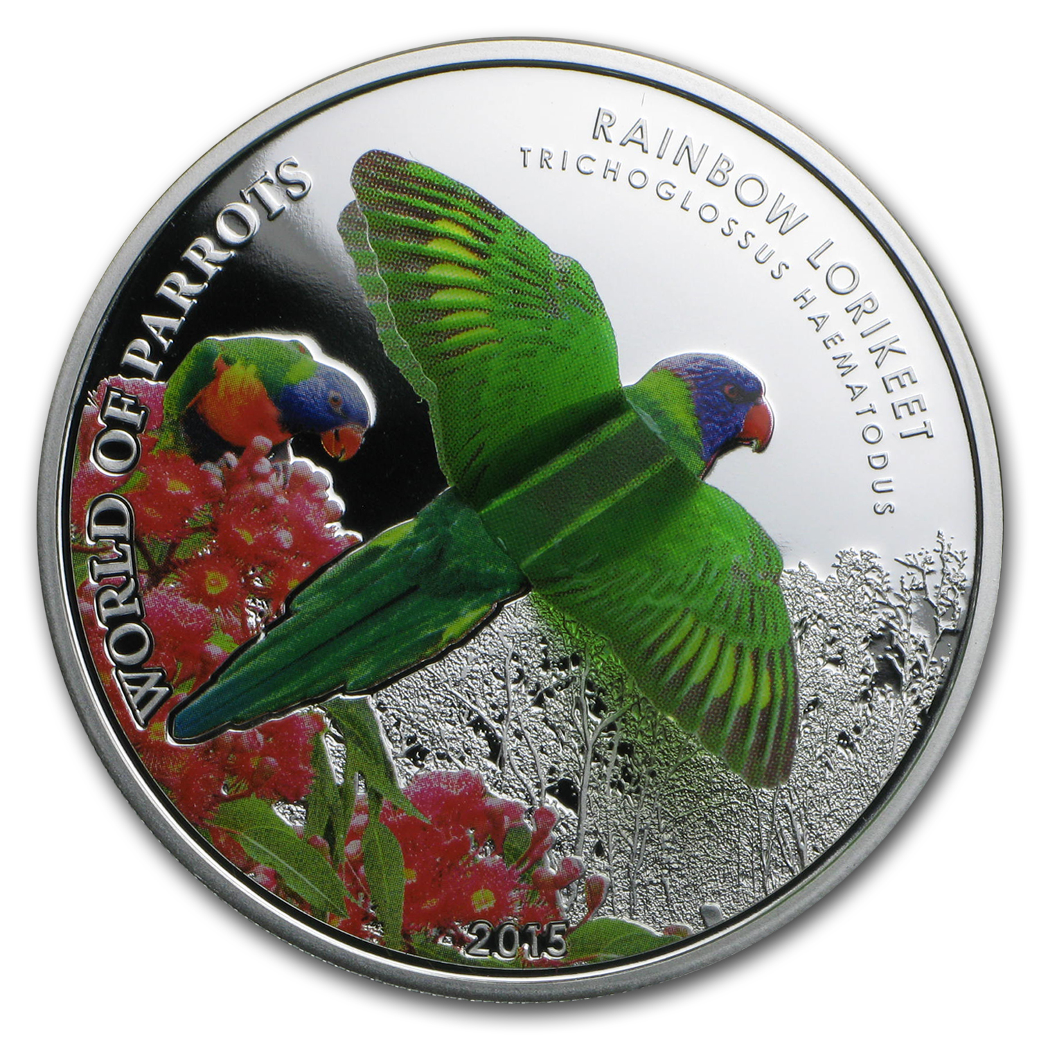 2015 Cook Islands Silver 3D World of Parrots (Rainbow Lorikeet)