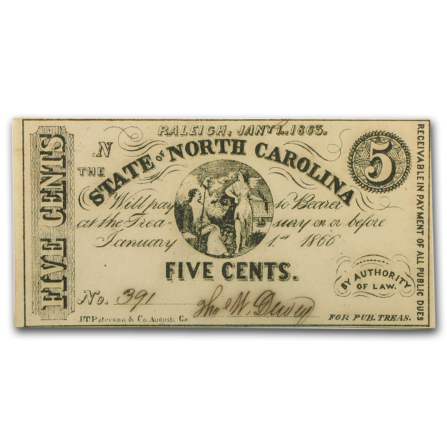 1863 The State of North Carolina 5 Cents CU