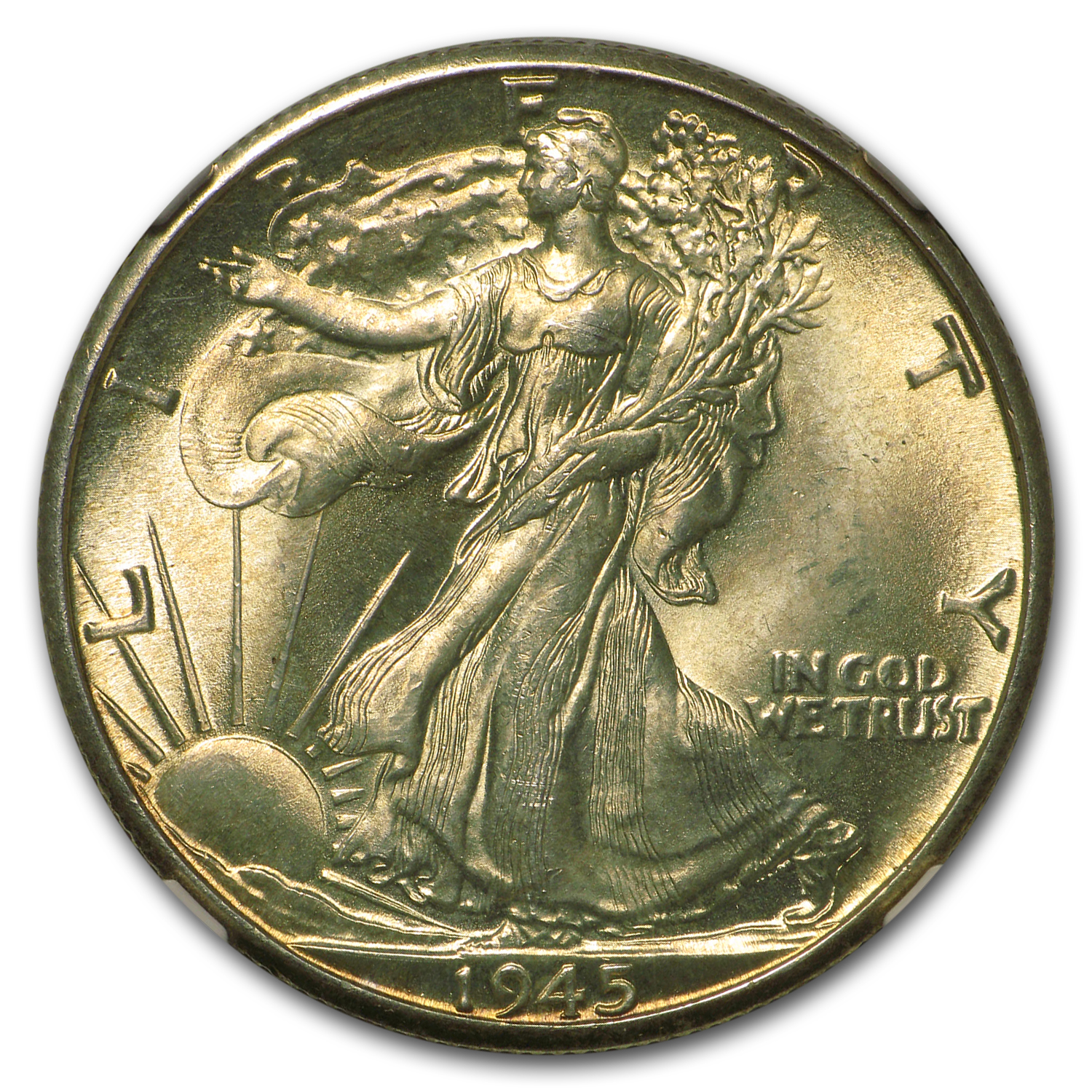 1945-D Walking Liberty Half Dollar MS-64 NGC